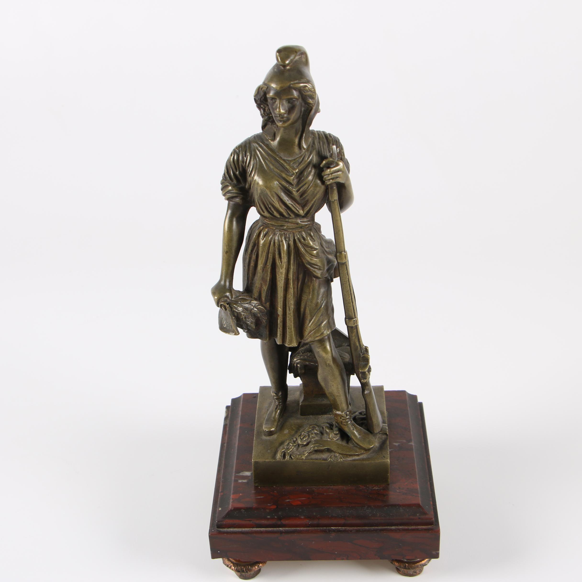"""Brass Sculpture After Pierre Jean David d'Angers """"La Liberté"""""""
