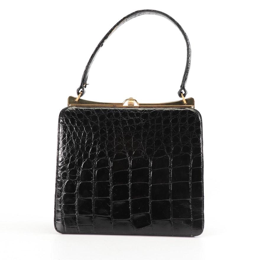 Bellestone Black Crocodile Leather Top Handle Bag 004a533521d89