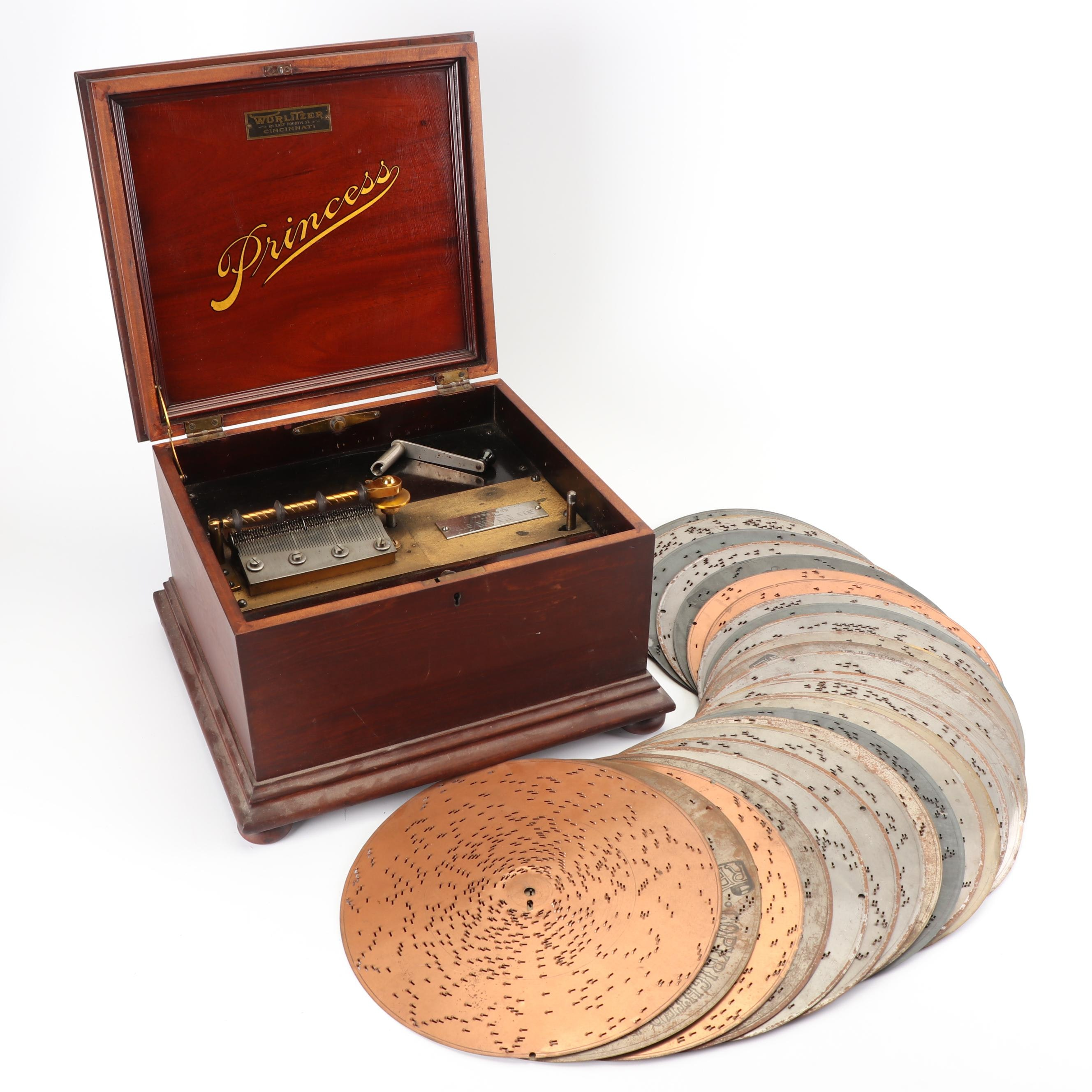 Wurlitzer Princess Music Box with Discs, Late 19th/ Early 20th Century