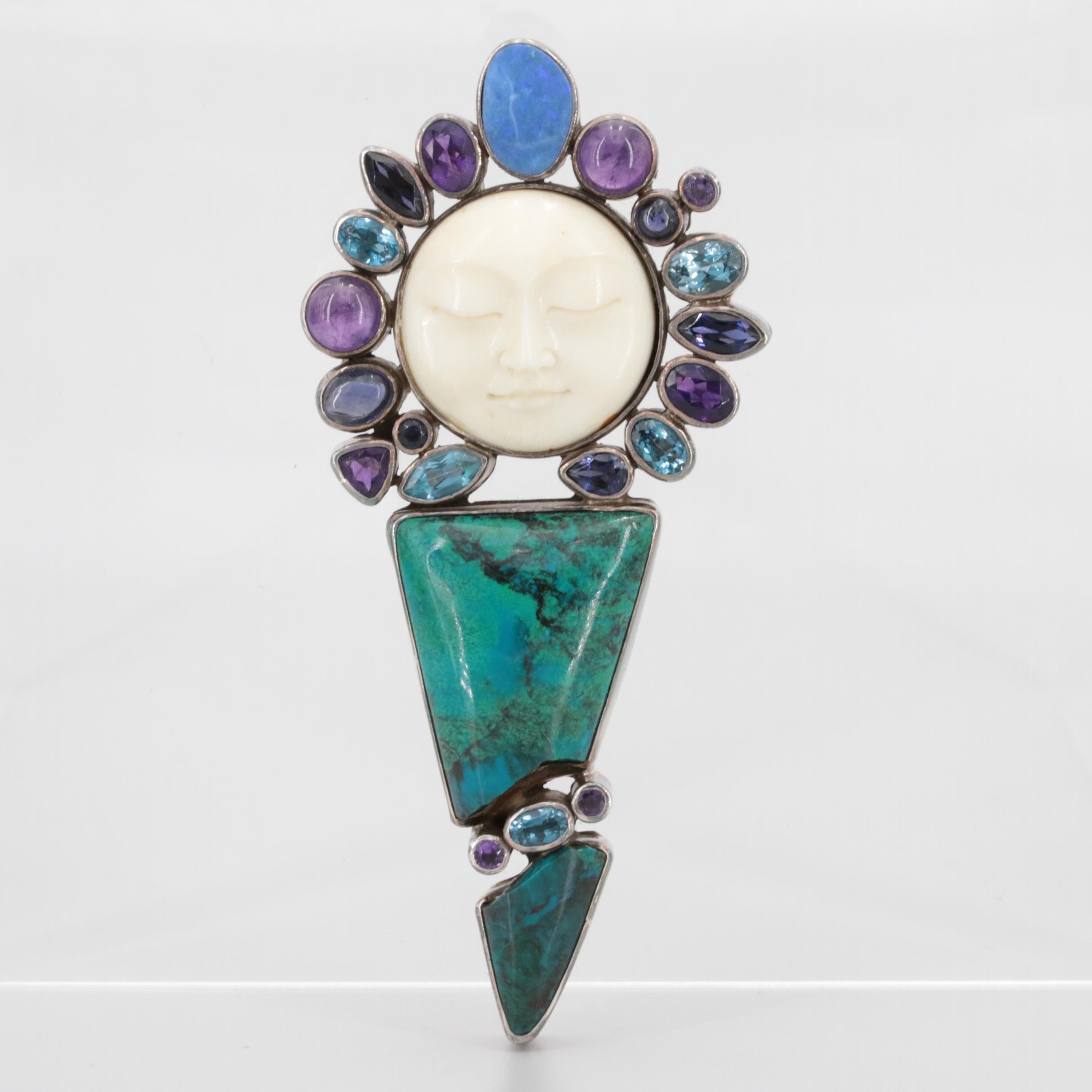 Sterling Silver Topaz, Amethyst and Opal Doublet Facial Motif Converter Pendant