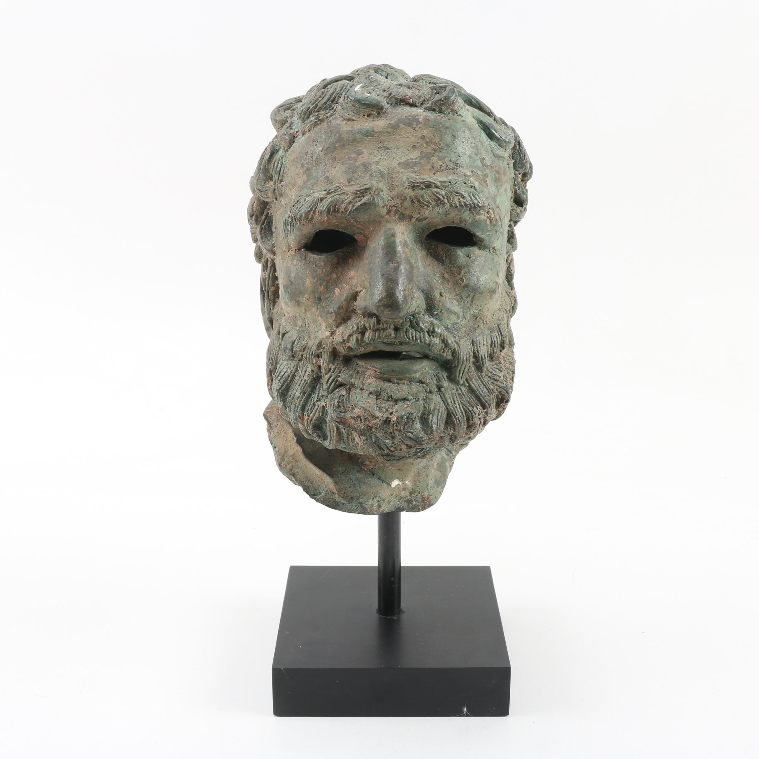 Classical Style Metal Bust of Bearded Man