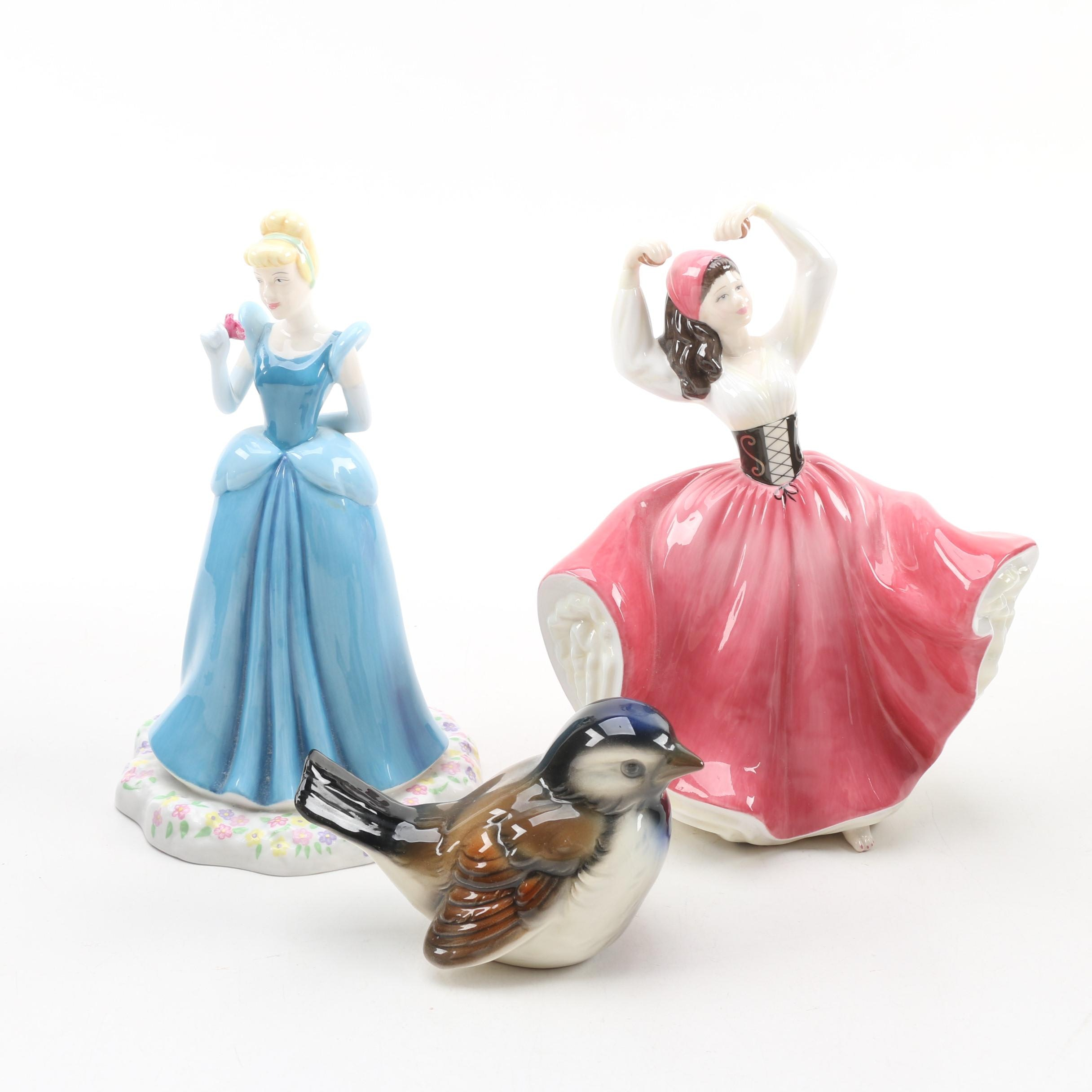 """Royal Doulton """"Cinderella"""" and """"Olivia"""" Figurines, and a Goebel Sparrow"""