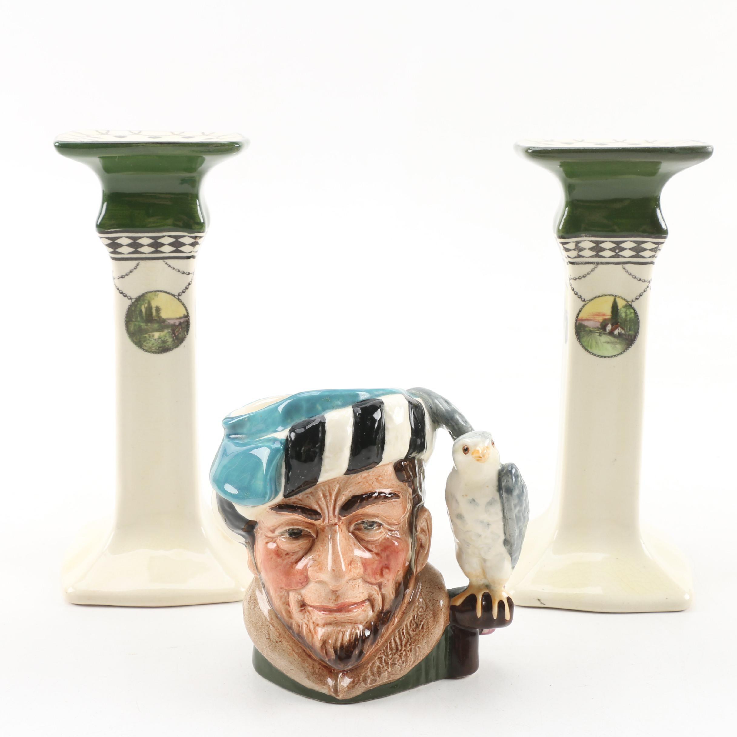 """Royal Doulton """"The Falconer"""" Character Mug and Series Ware Candlesticks"""