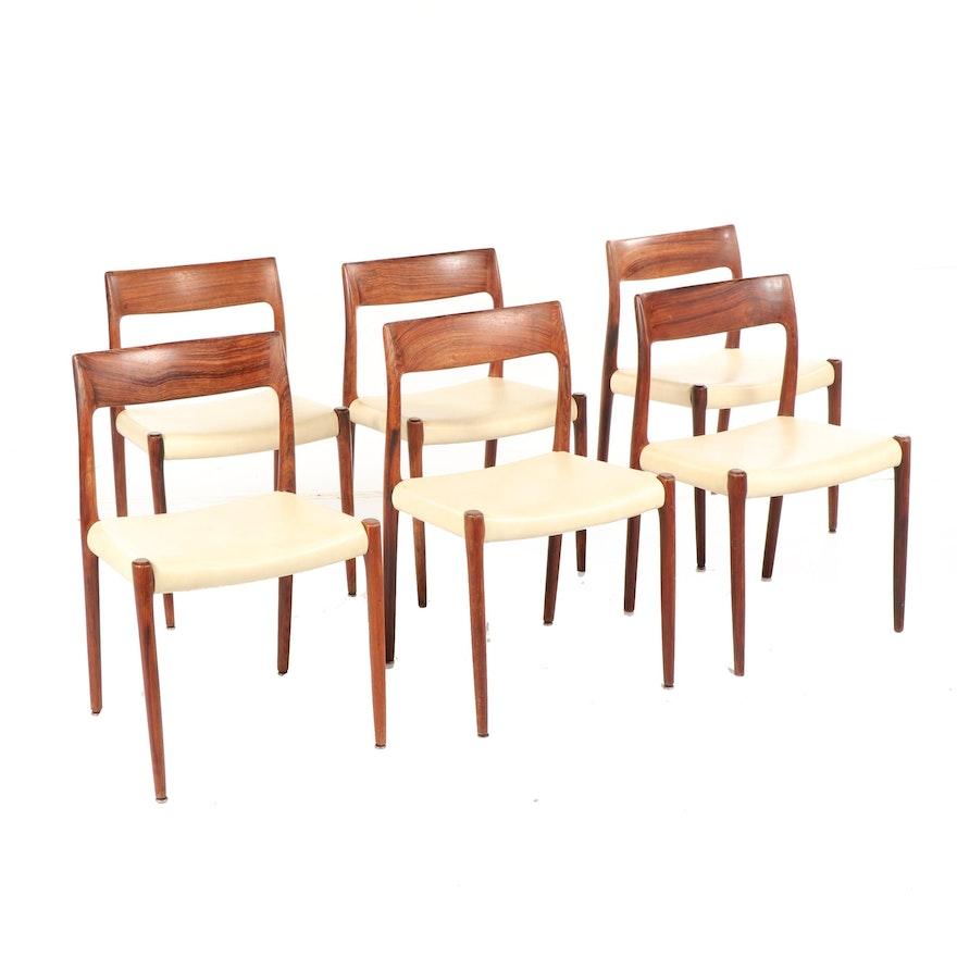 Niels Otto Møller 77 Danish Modern Rosewood Dining Chairs Circa 1960