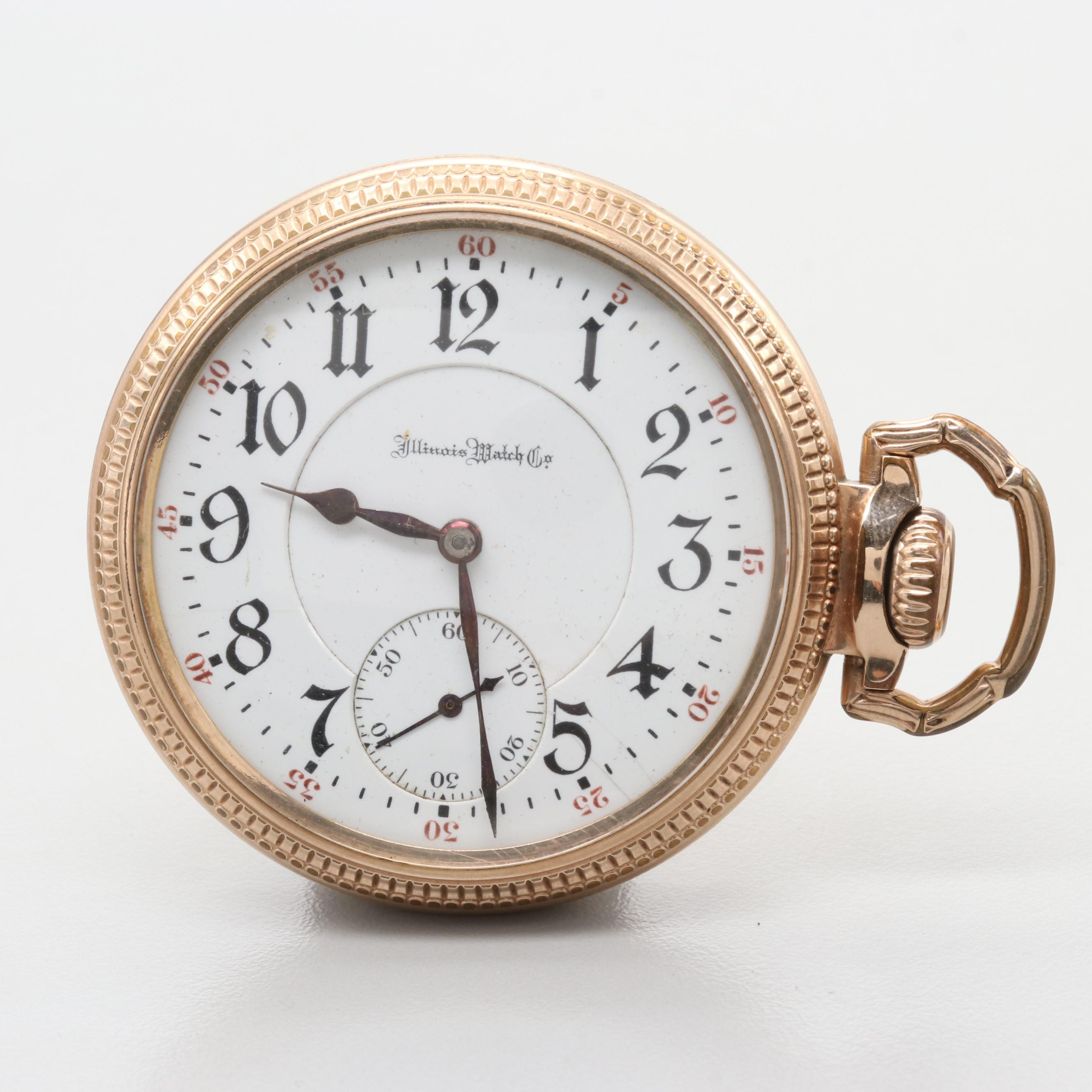 "Illinois Watch Co. ""Sidewinder"" 10K Gold Filled Pocket Watch, Circa 1908"