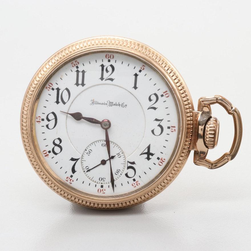 """Illinois Watch Co. """"Sidewinder"""" 10K Gold Filled Pocket Watch, Circa 1908"""