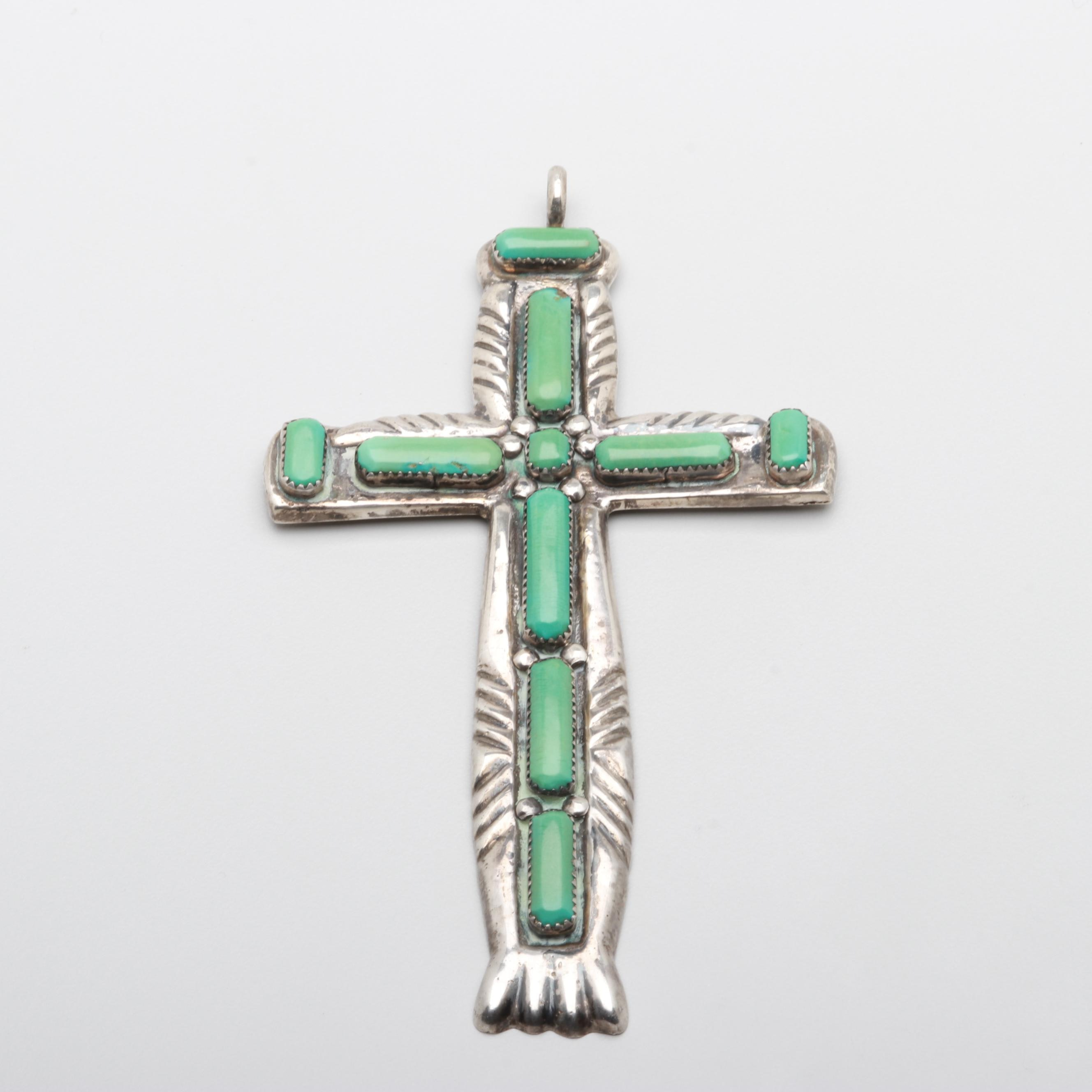 Wilbur Iule Zuni Sterling Silver Stabilized Turquoise Cross Pendant