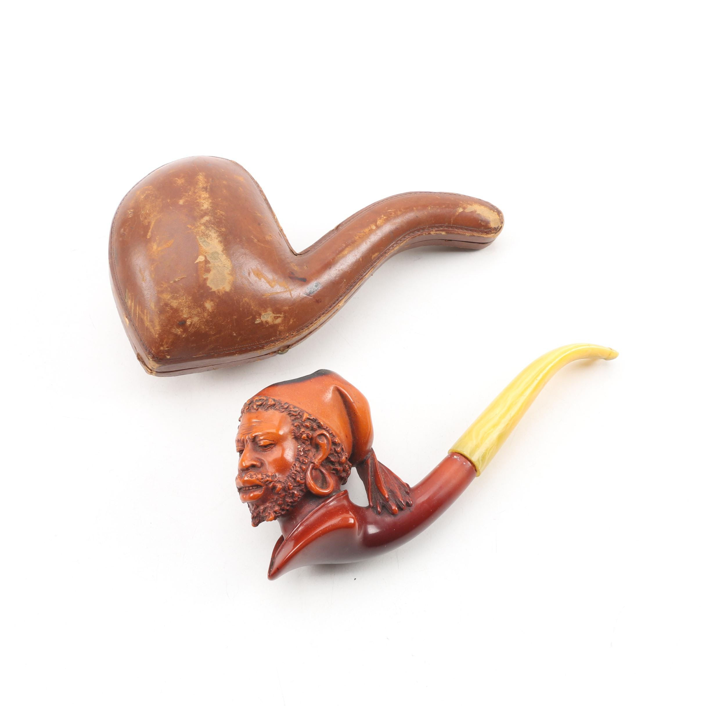 Antique Franz Hiess & Söhne Figural Meerschaum Tobacco Pipe with Leather Case