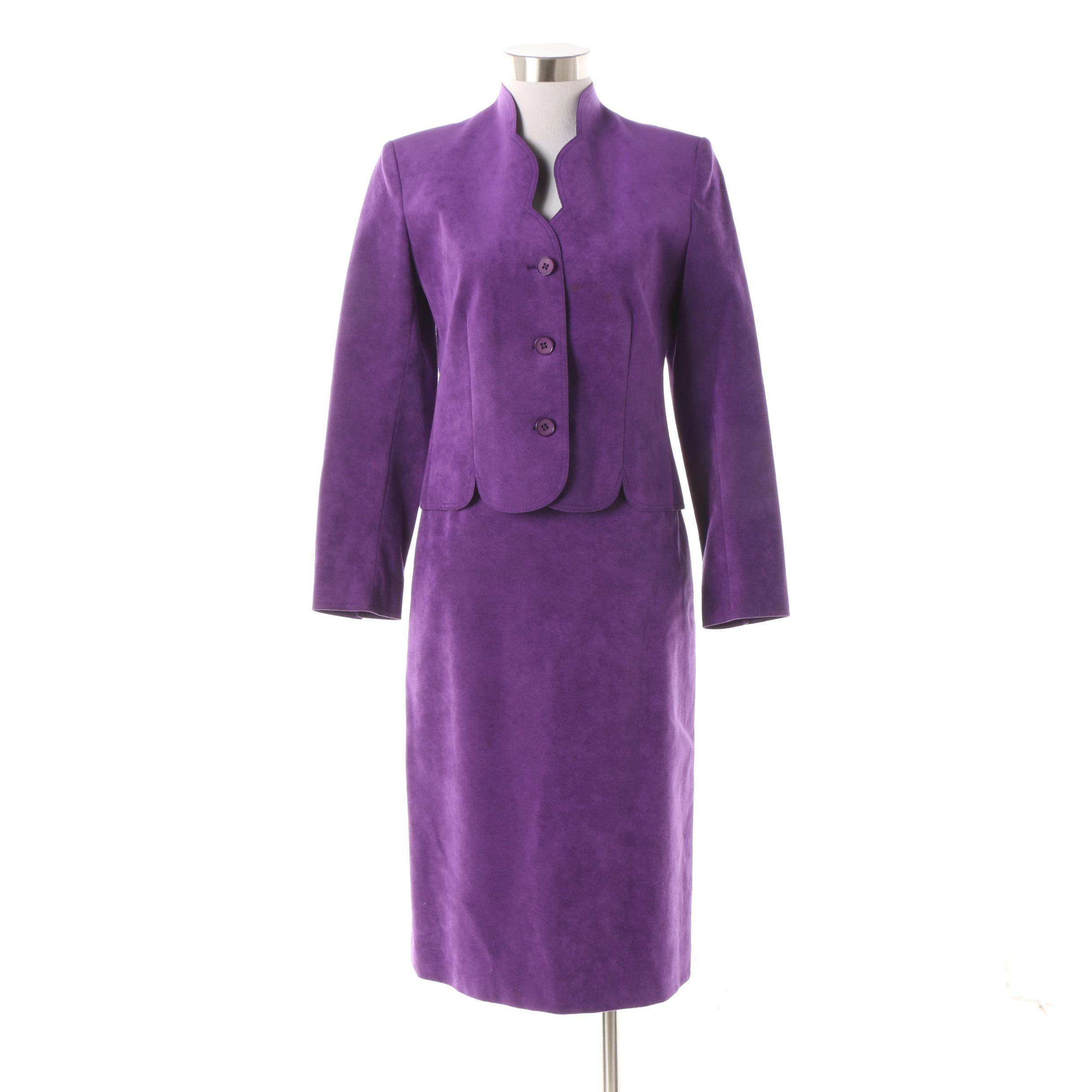 Women's 1980s Vintage Lilli Ann's Petite Purple Suede Skirt Suit