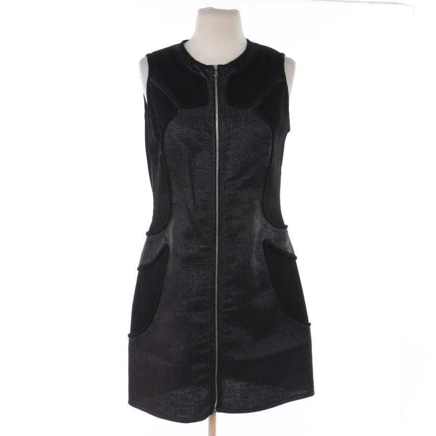 3140d5c4513 McQ Alexander McQueen Black Knit Zipper-Front Sleeveless Dress   EBTH