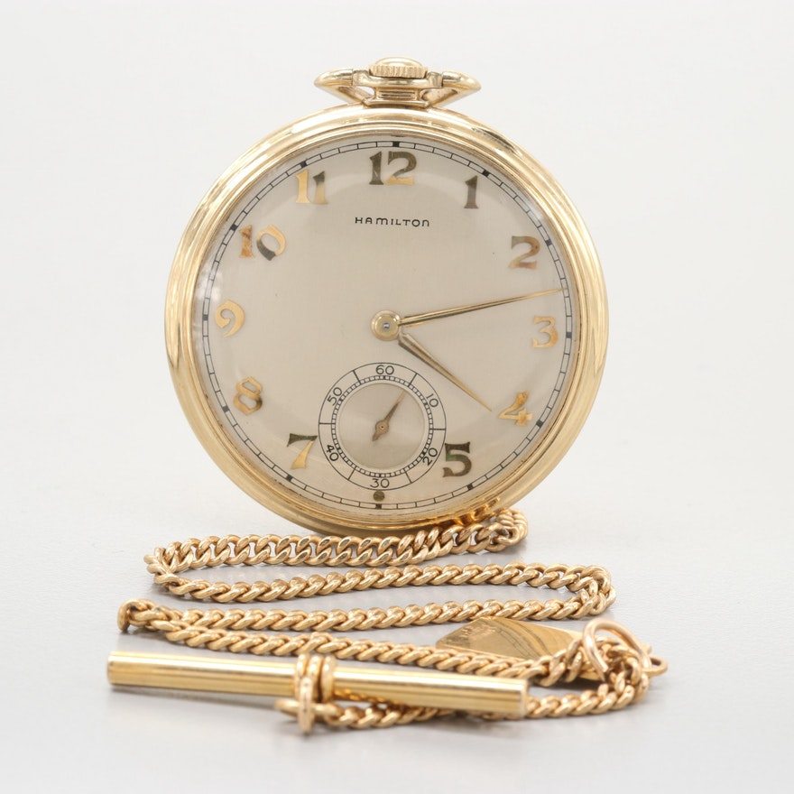 Hamilton 14K Yellow Gold Pocket Watch, 1947