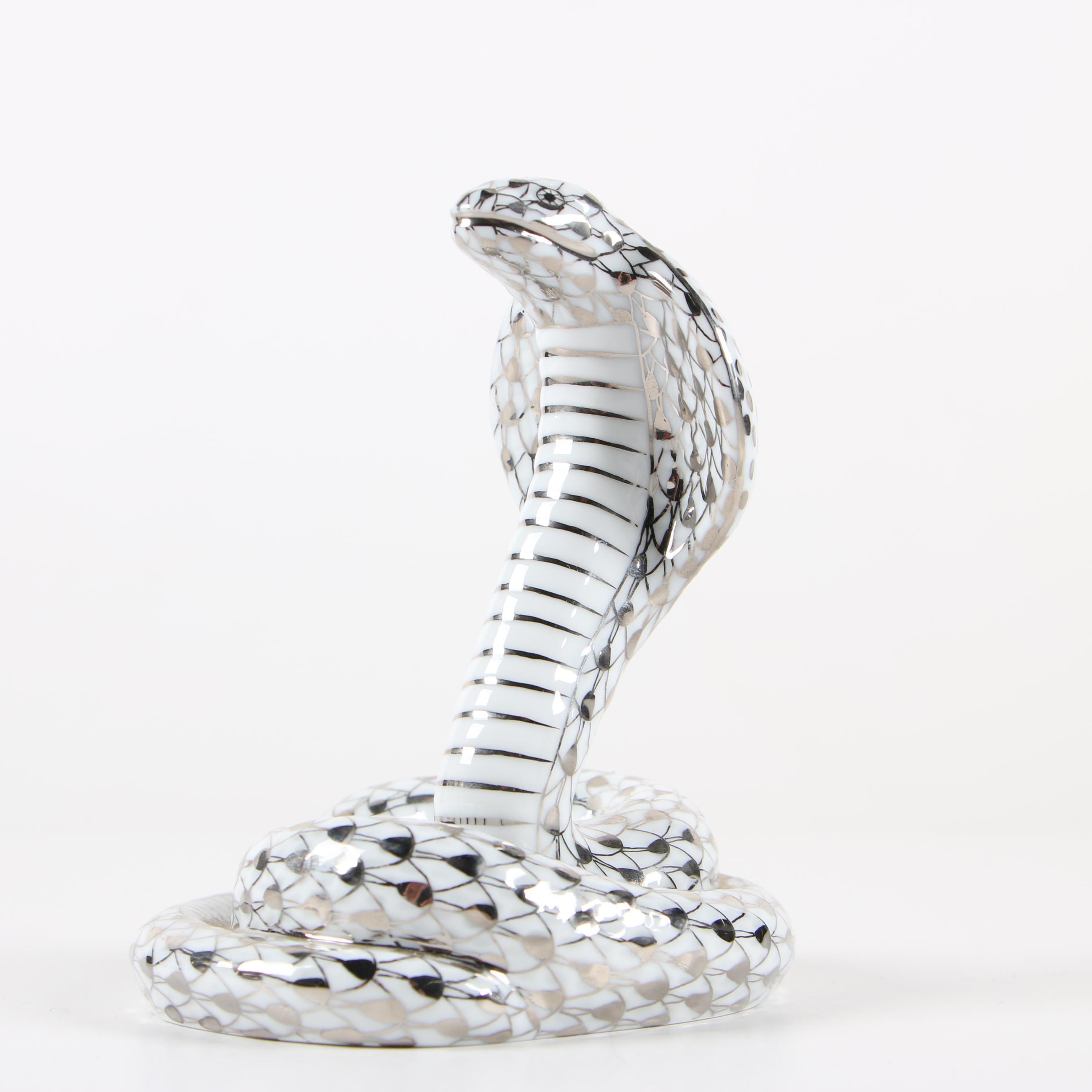 """Herend Platinum Fishnet """"Cobra"""" Porcelain Figurine, 2005 Signed First Edition"""