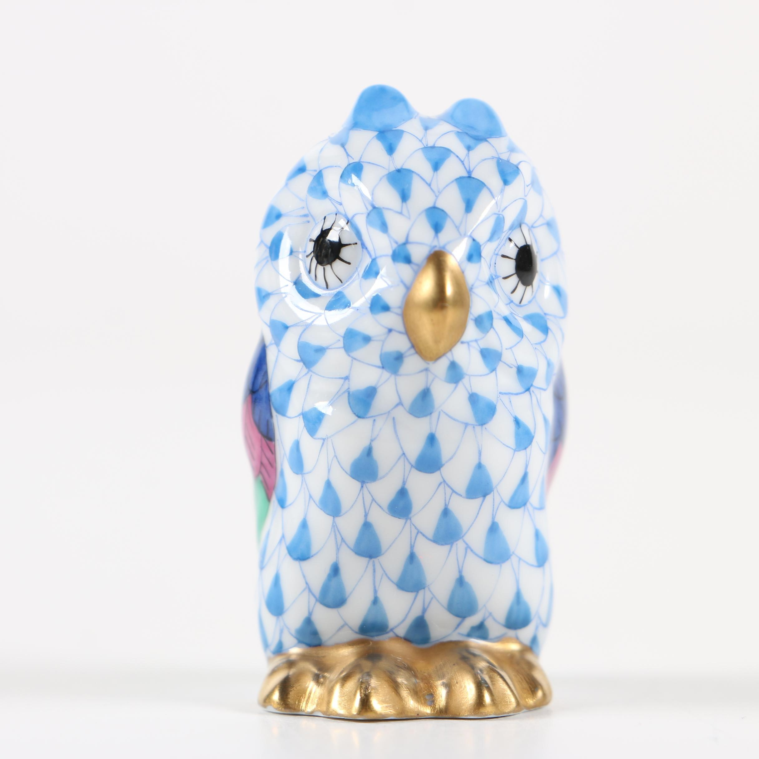 "Herend Blue Fishnet ""Miniature Owl"" Hand-Painted Porcelain Figurine"