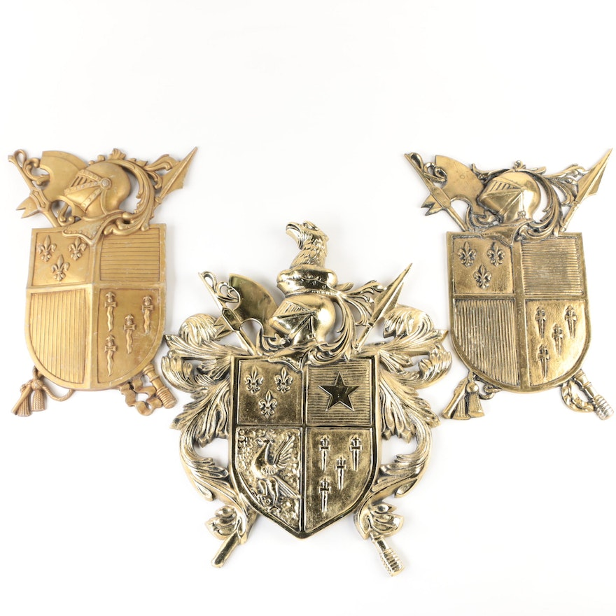 Medieval Style Cast Metal Heraldry Shield Wall Decor Including Sexton