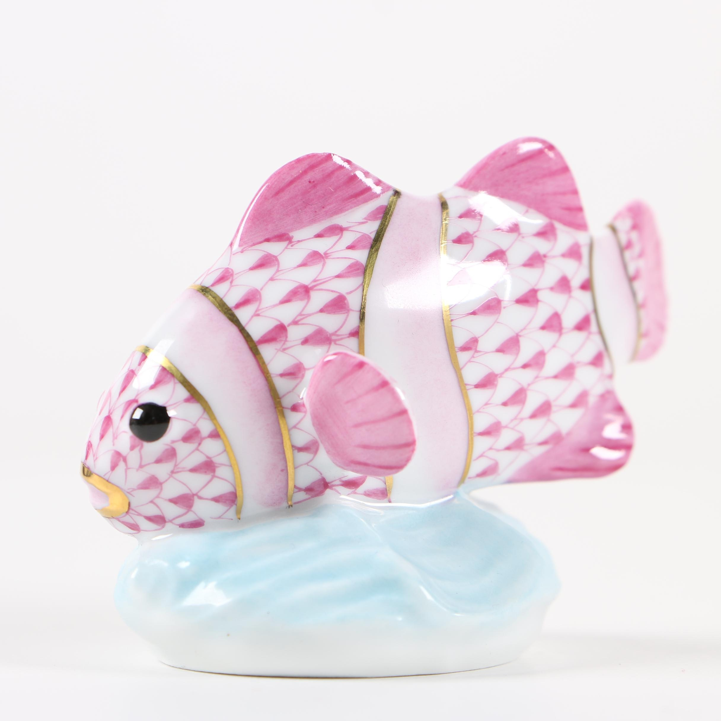 "Herend Guild Raspberry Fishnet ""Clownfish"" Hand-Painted Porcelain Figurine, 2010"