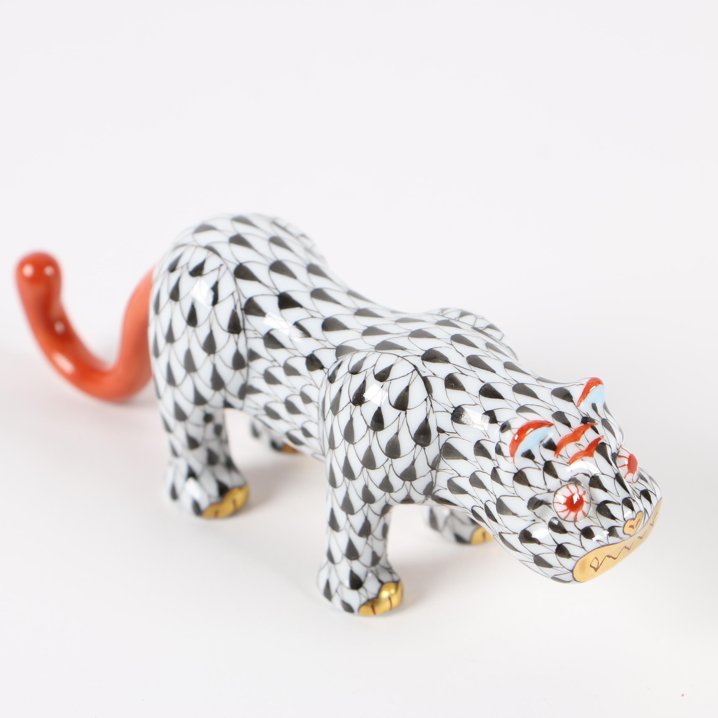 """Herend Black Fishnet """"Big Cat"""" Porcelain Figurine, 2010"""