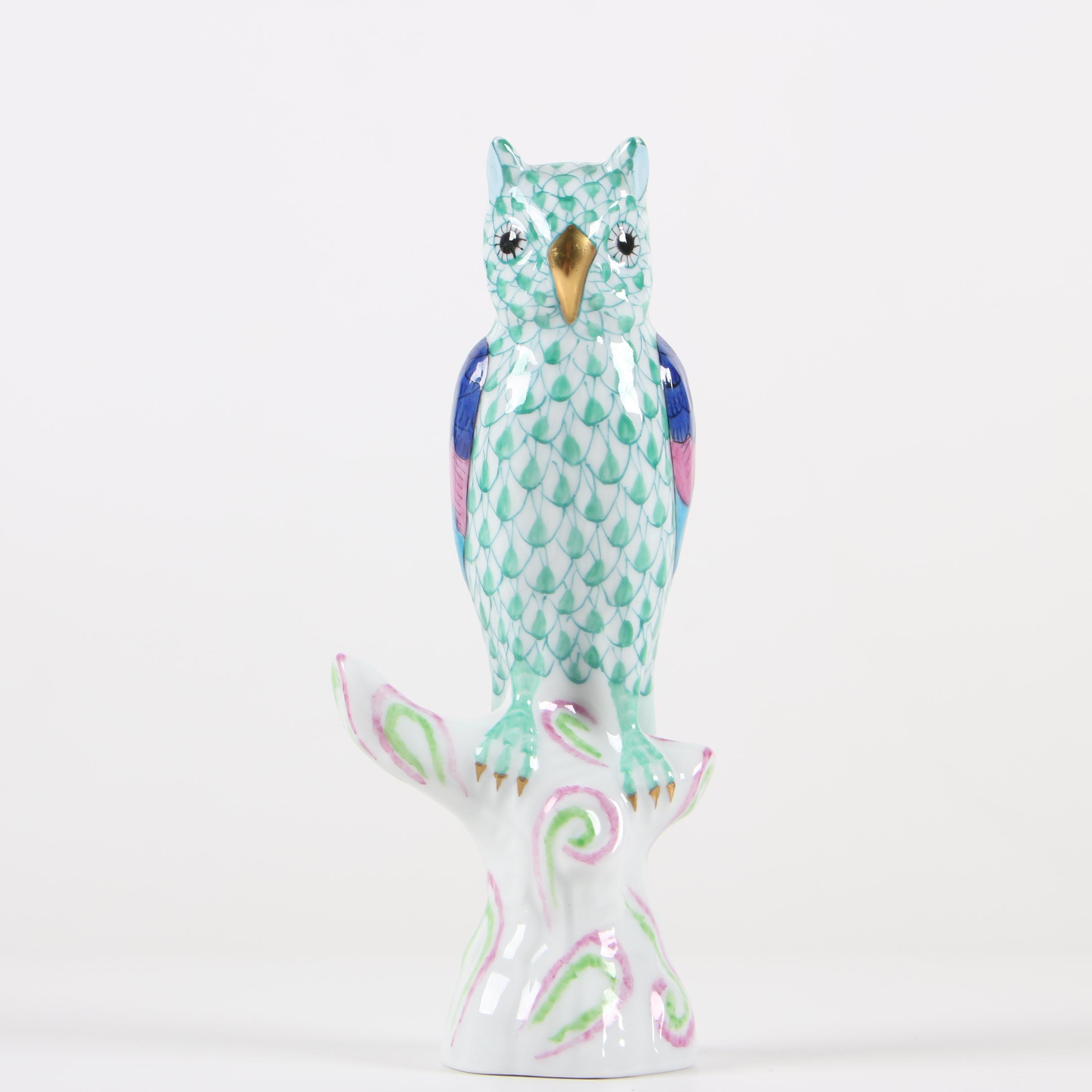 "Herend Green Fishnet ""Owl on Branch"" Porcelain Figurine"