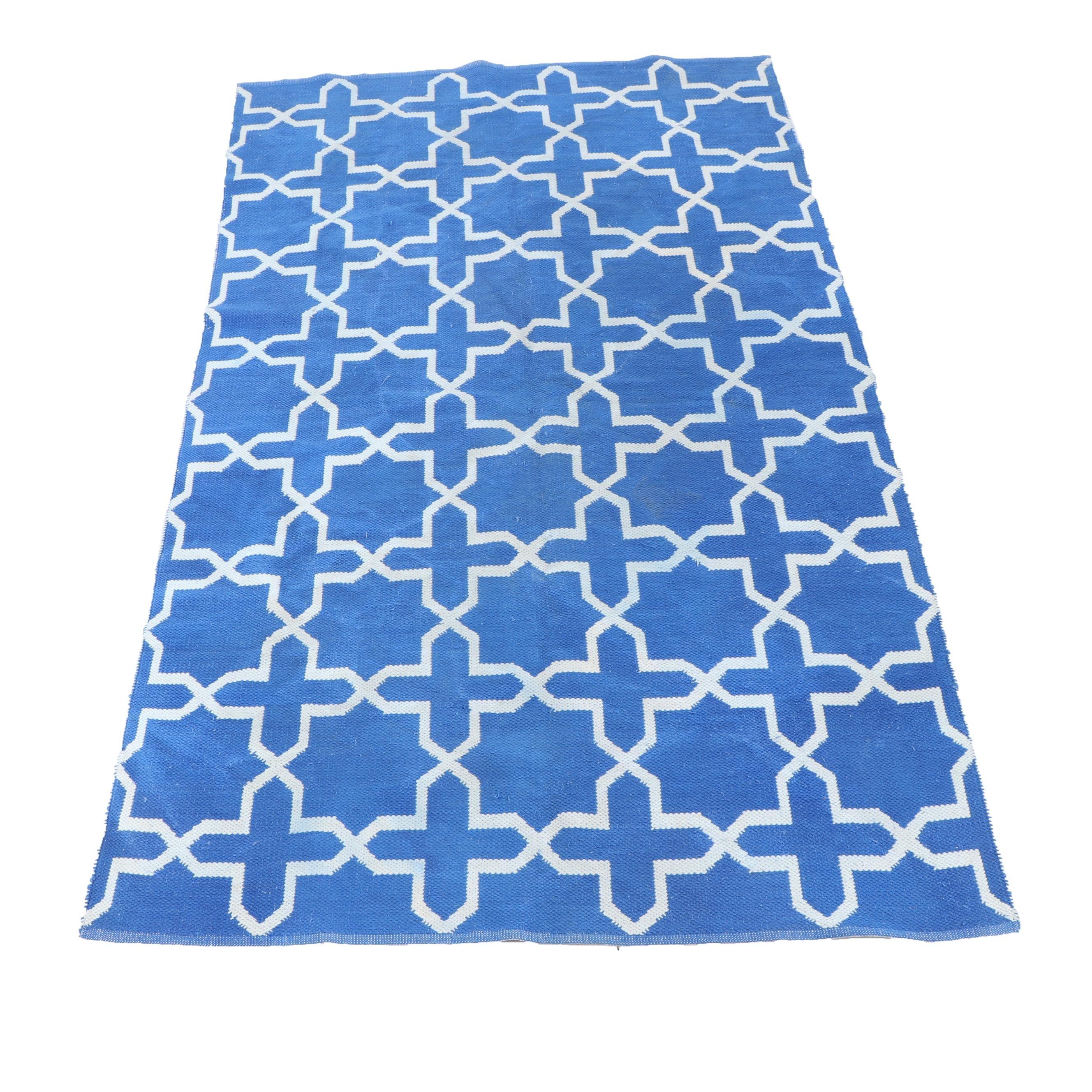 Handwoven Reversible Geometric Wool Dhurrie Rug