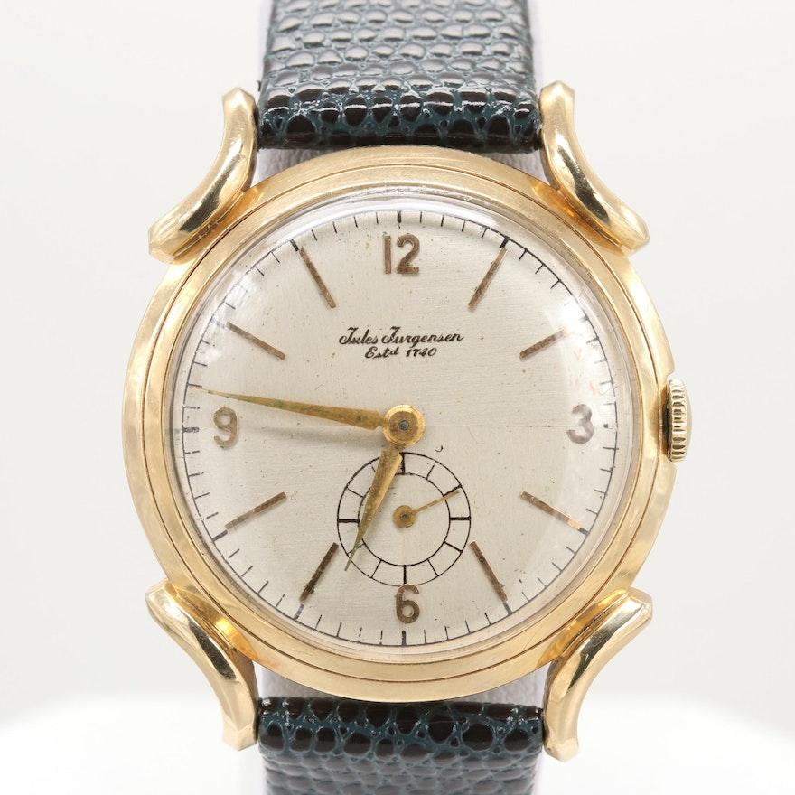 Jules Jurgensen 14K Yellow Gold Stem Wind Wrist Watch