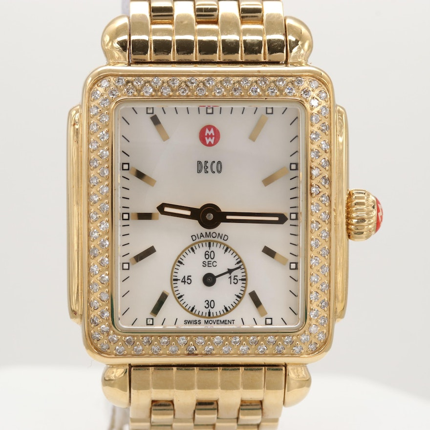 Michele Deco Gold Tone Quartz Wristwatch With Mother of Pearl and Diamond Bezel