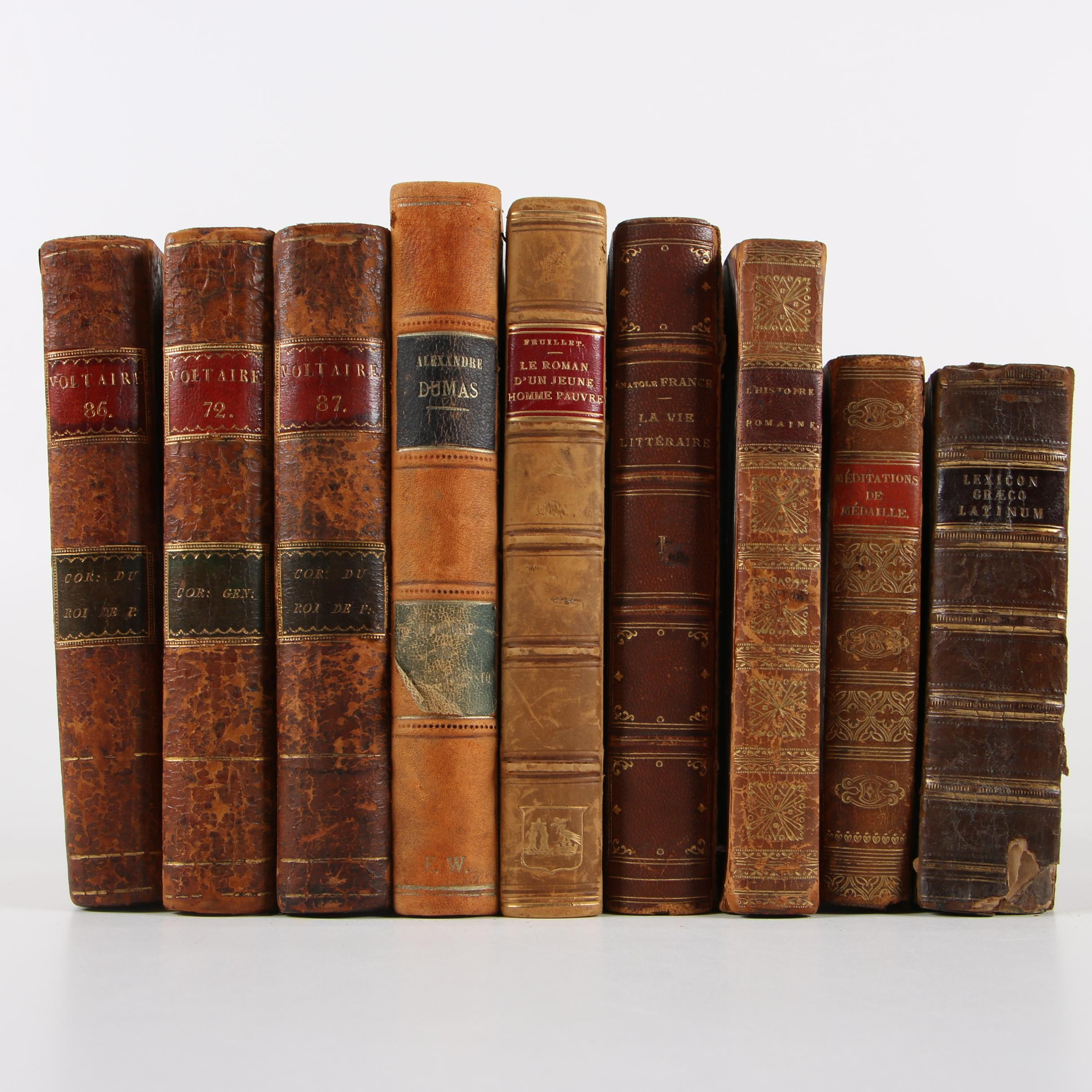 Antiquarian French-Language Books featuring Voltaire and Dumas