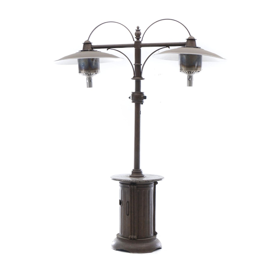 Frontgate Outdoor Propane Dual Heater With Granite Table Shelf
