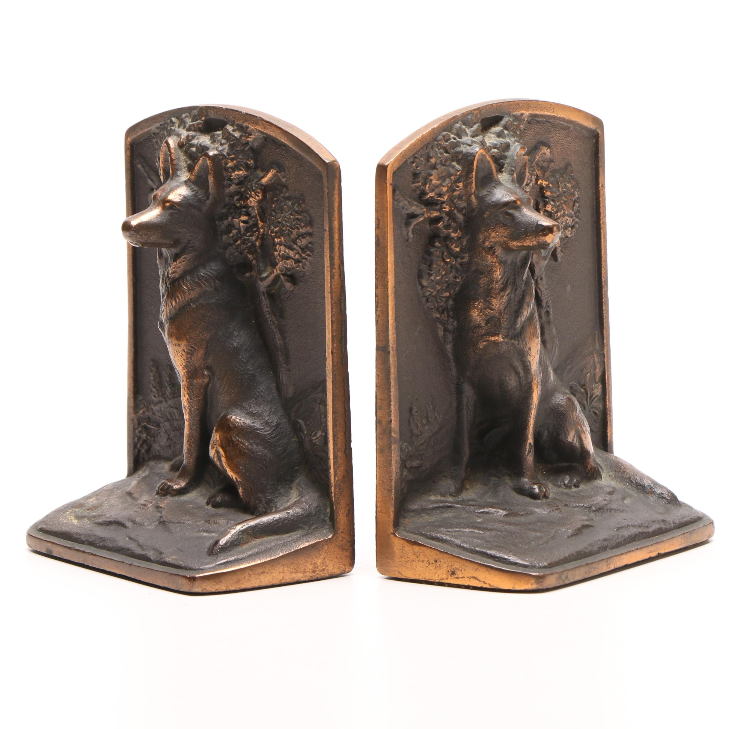 Cast Iron Hubley Style German Shepherd Bookends