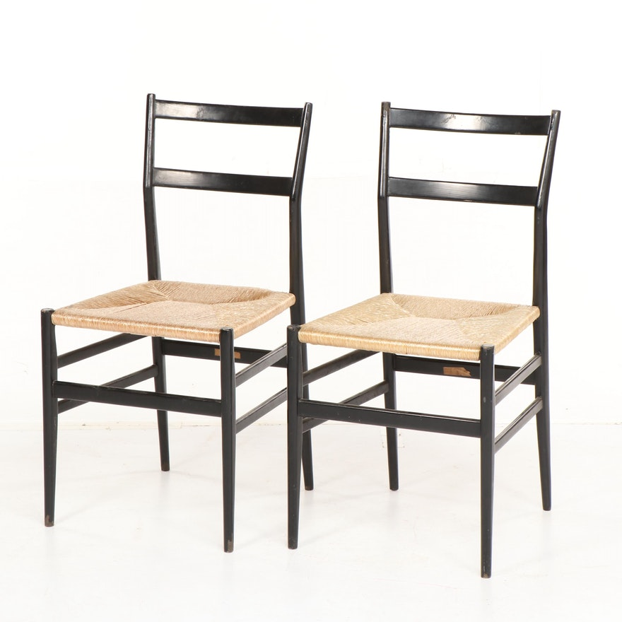 Italian Painted Wood Frame Woven Seat Side Chairs, Late 20th Century