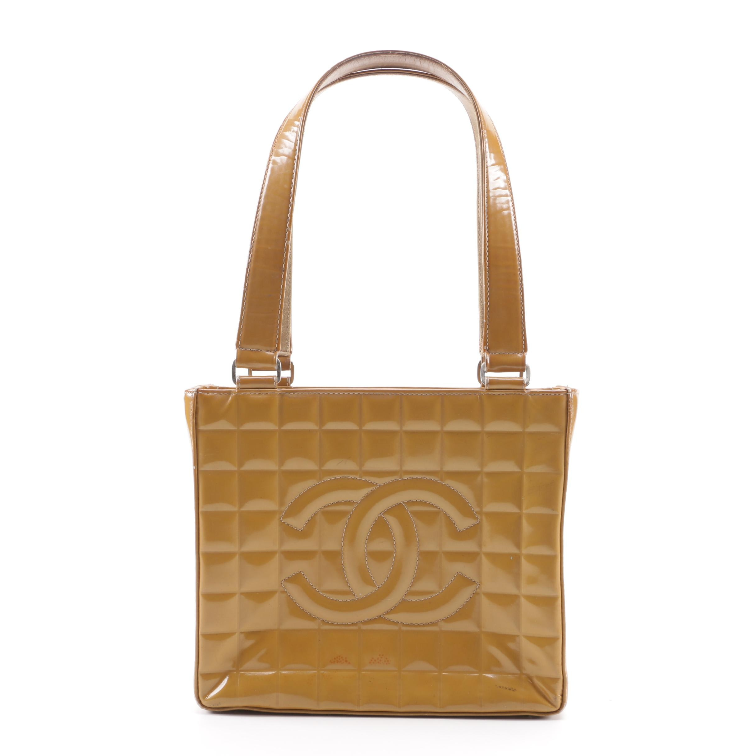 Circa 2002 Chanel Quilted Embossed Caramel Patent Leather Shoulder Bag
