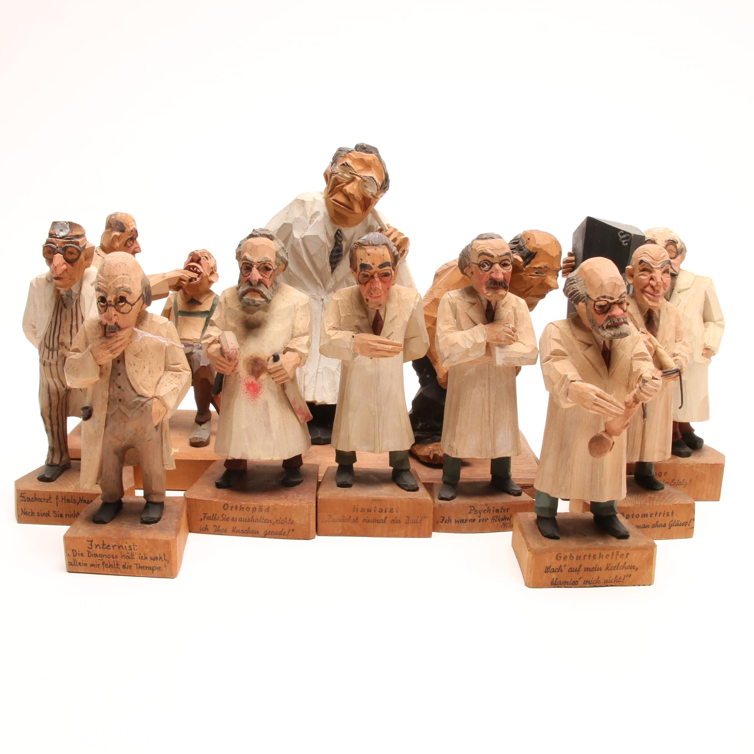 Vintage Hand Carved Swiss and German Doctor Figurines
