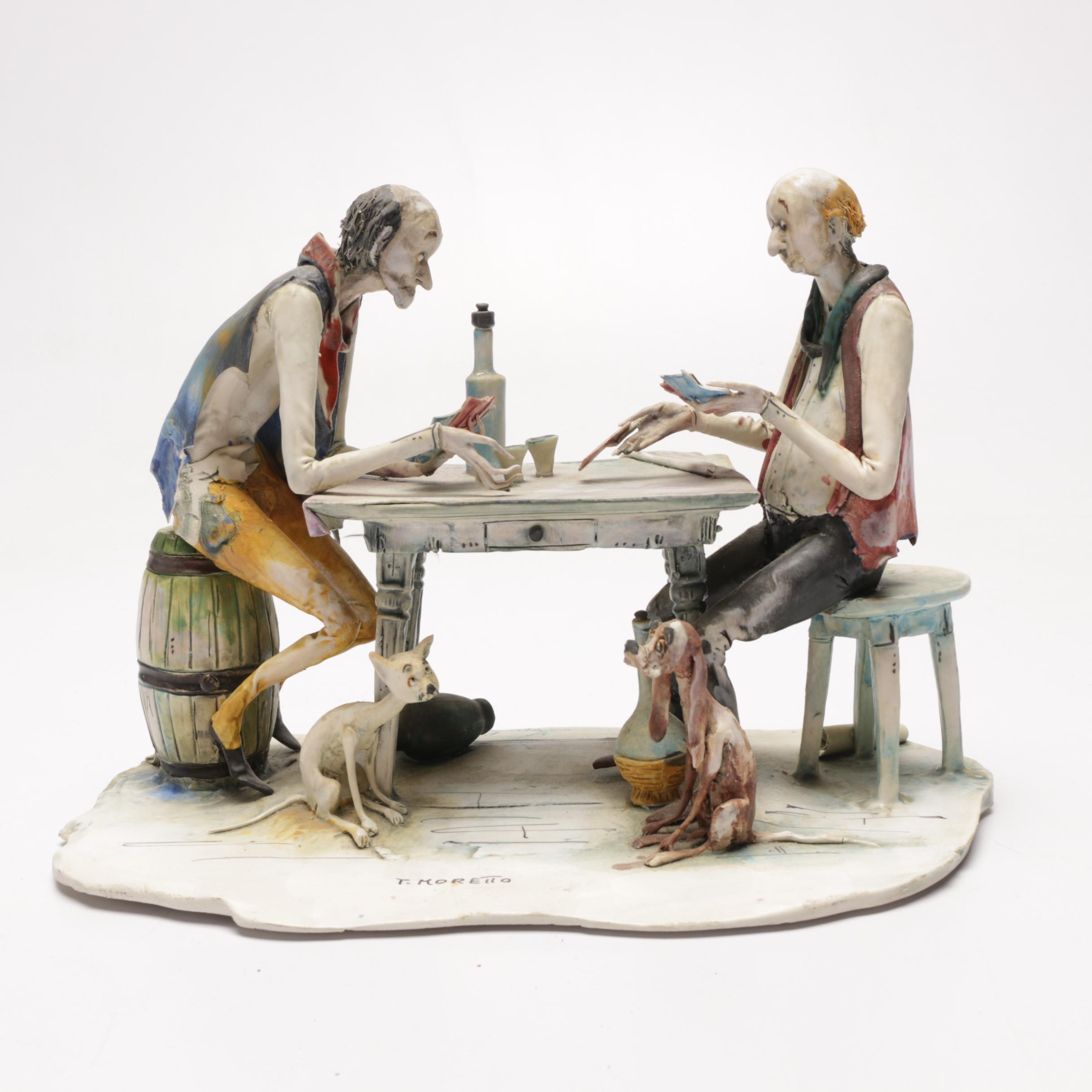 Italian Ceramic Figurine of Men Playing Cards by Toni Moretto
