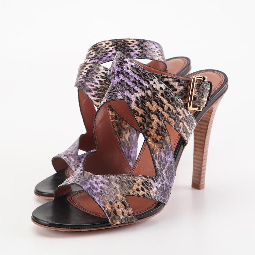 f30beccbc92 Derek Lam Multicolor Snakeskin High-Heeled Ankle Strap Sandals