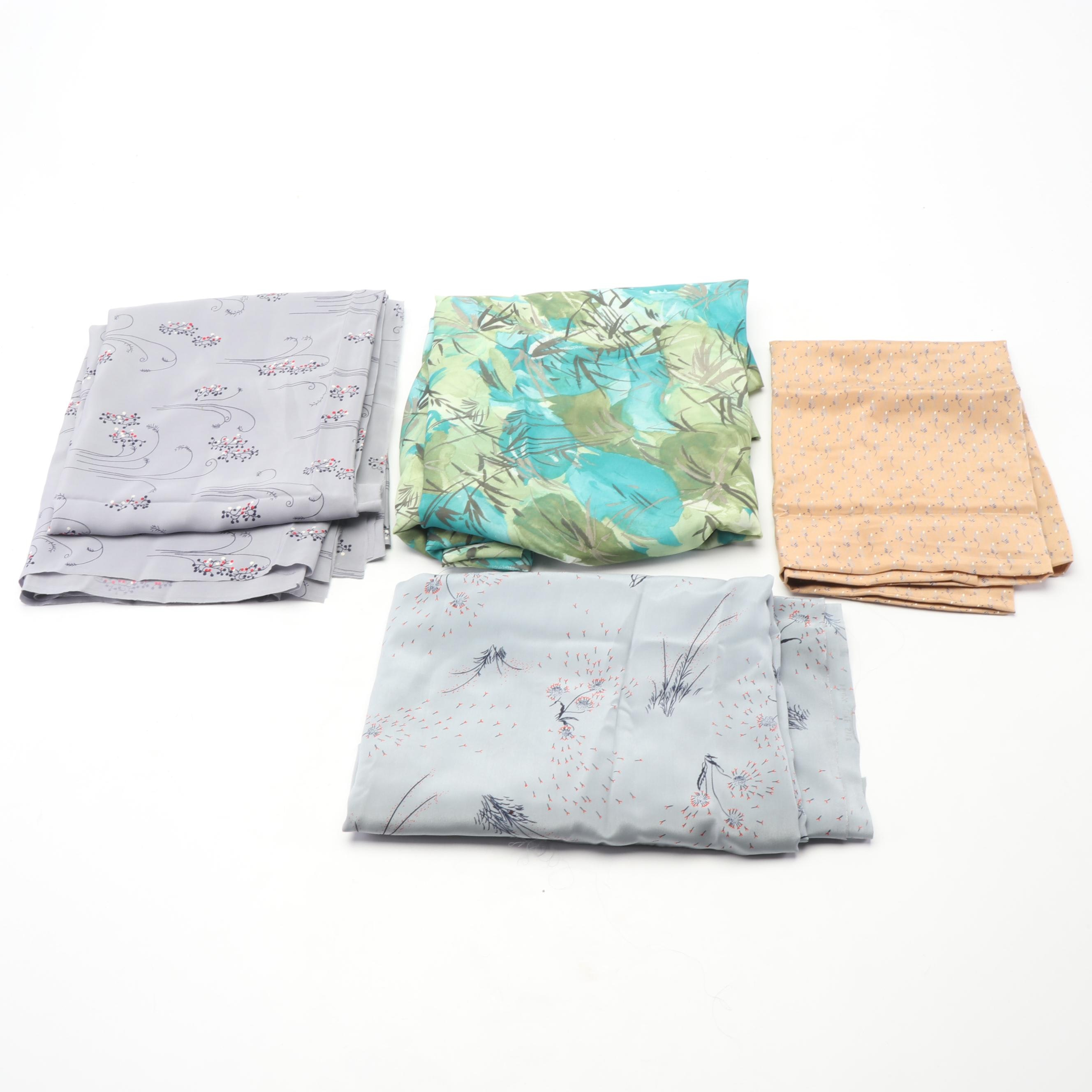 Floral Silk Fabric Remnants