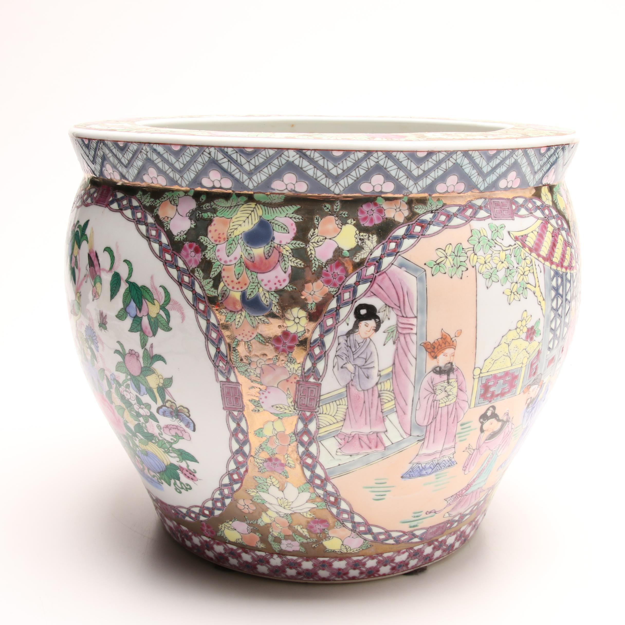 Chinese Gilt Satsuma Style Ceramic Planter