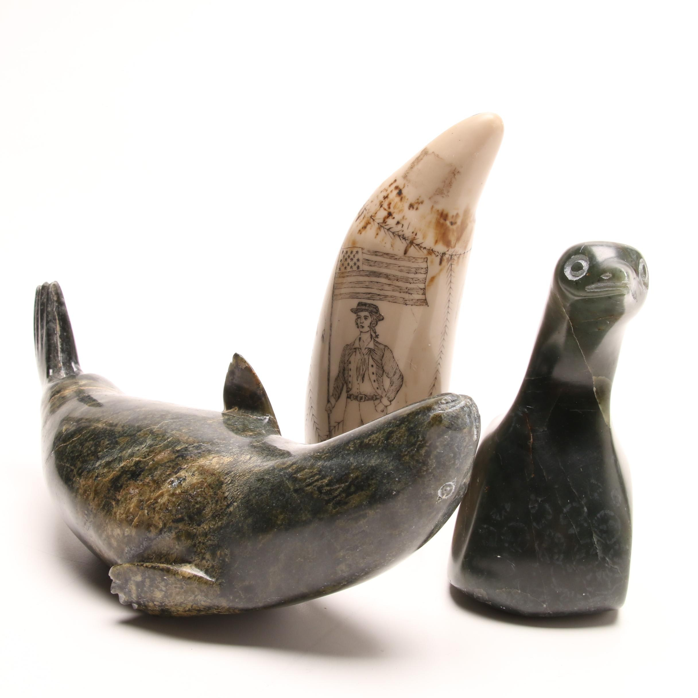 Inuit Totemic Animal Carvings and Scrimshaw
