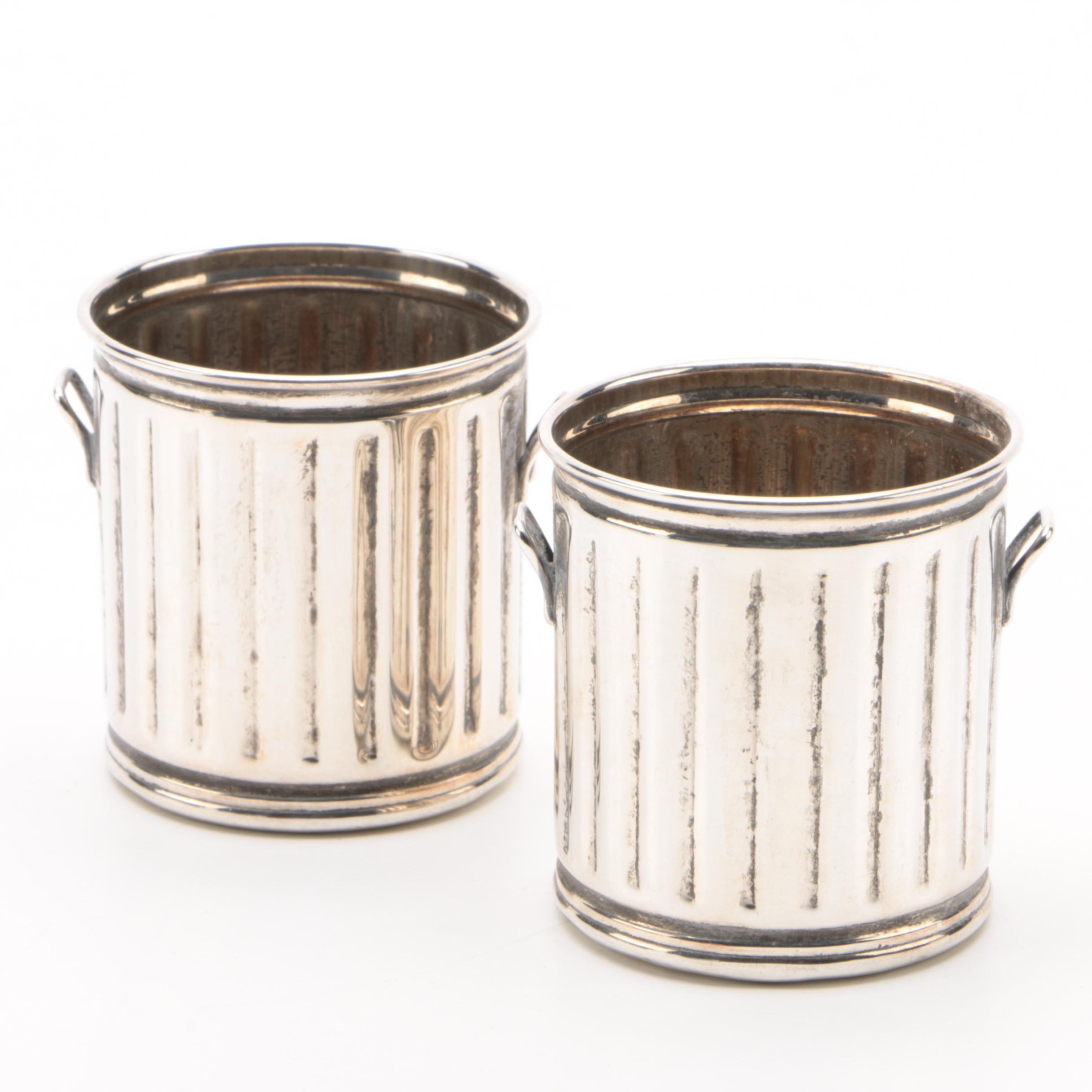 Sterling Silver Trash Can Toothpick Holders