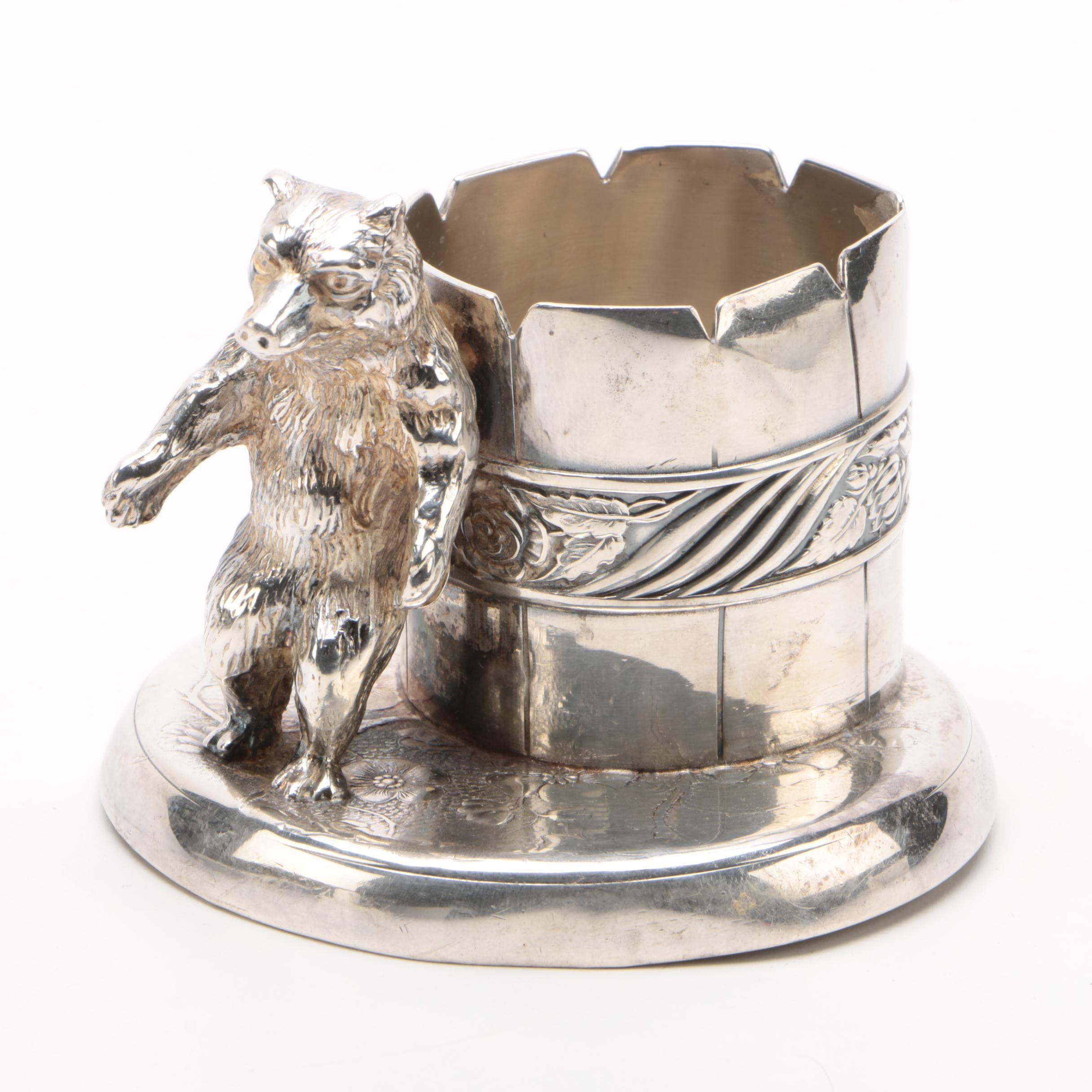 Pairpoint Quadruple Plate Bear Toothpick Holder, Early 20th Century