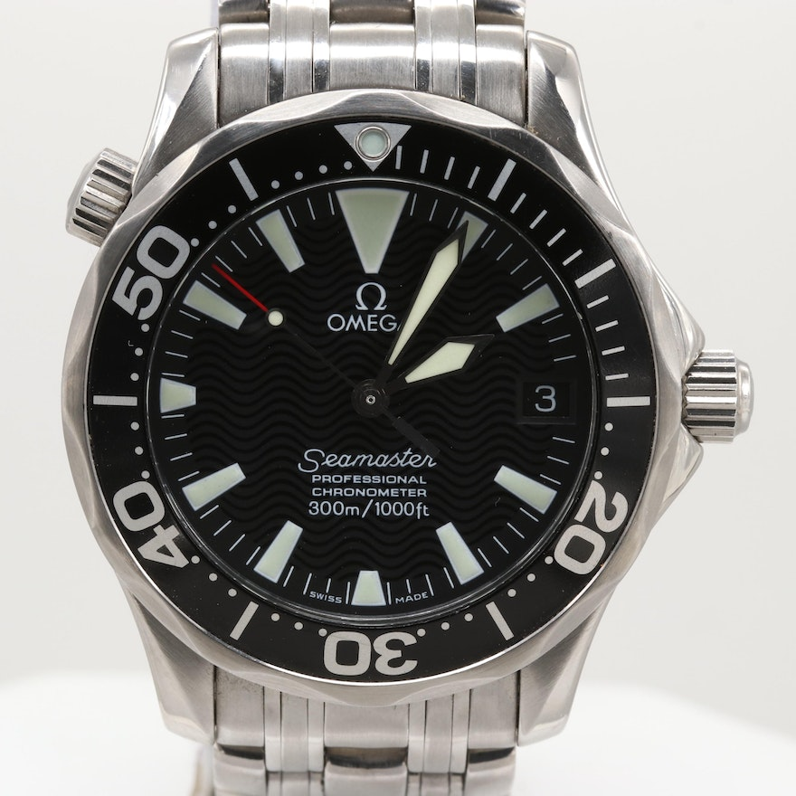 Omega Seamaster Professional Stainless Steel Midsize Automatic Wristwatch