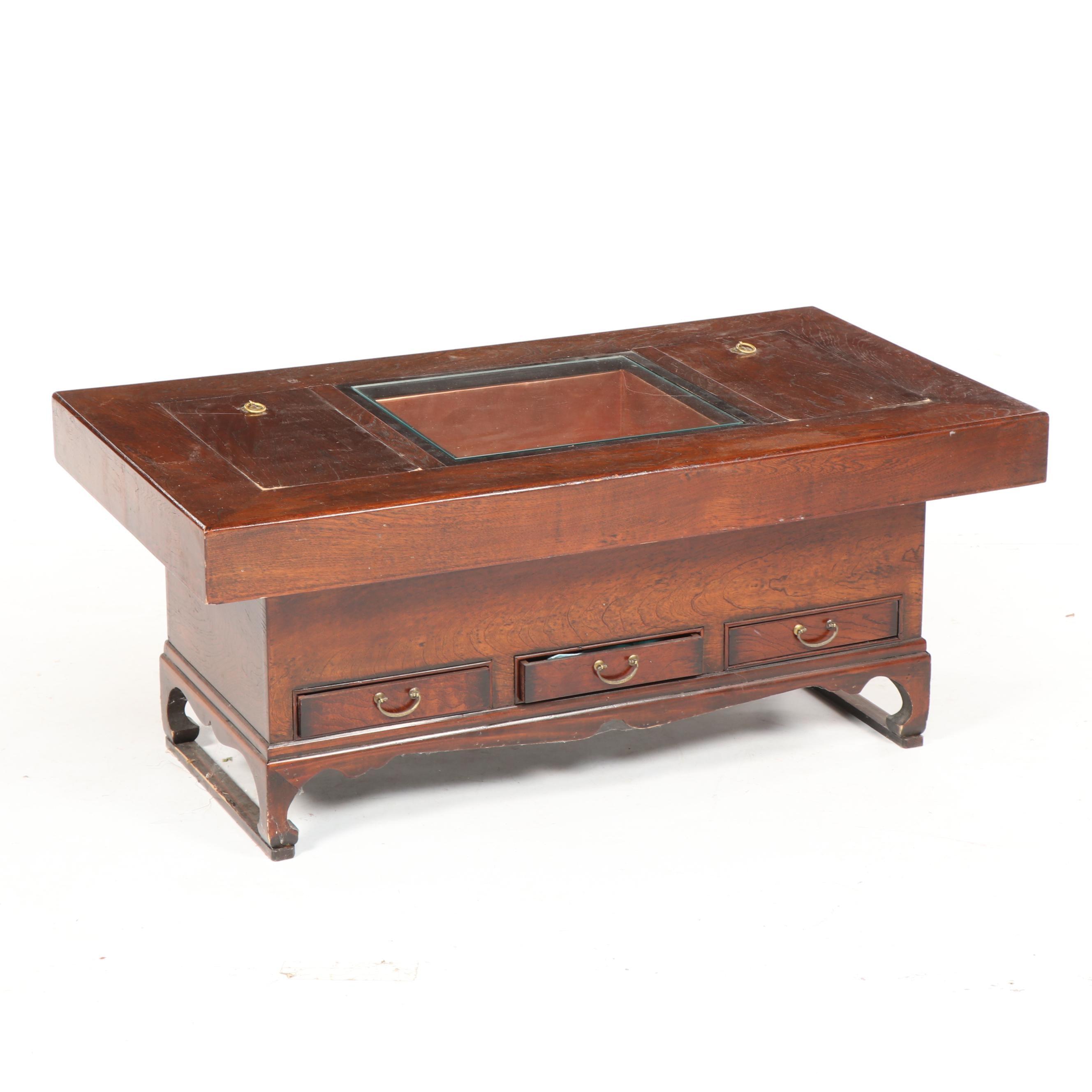 Japanese Elm Hibachi Table, Mid-20th Century
