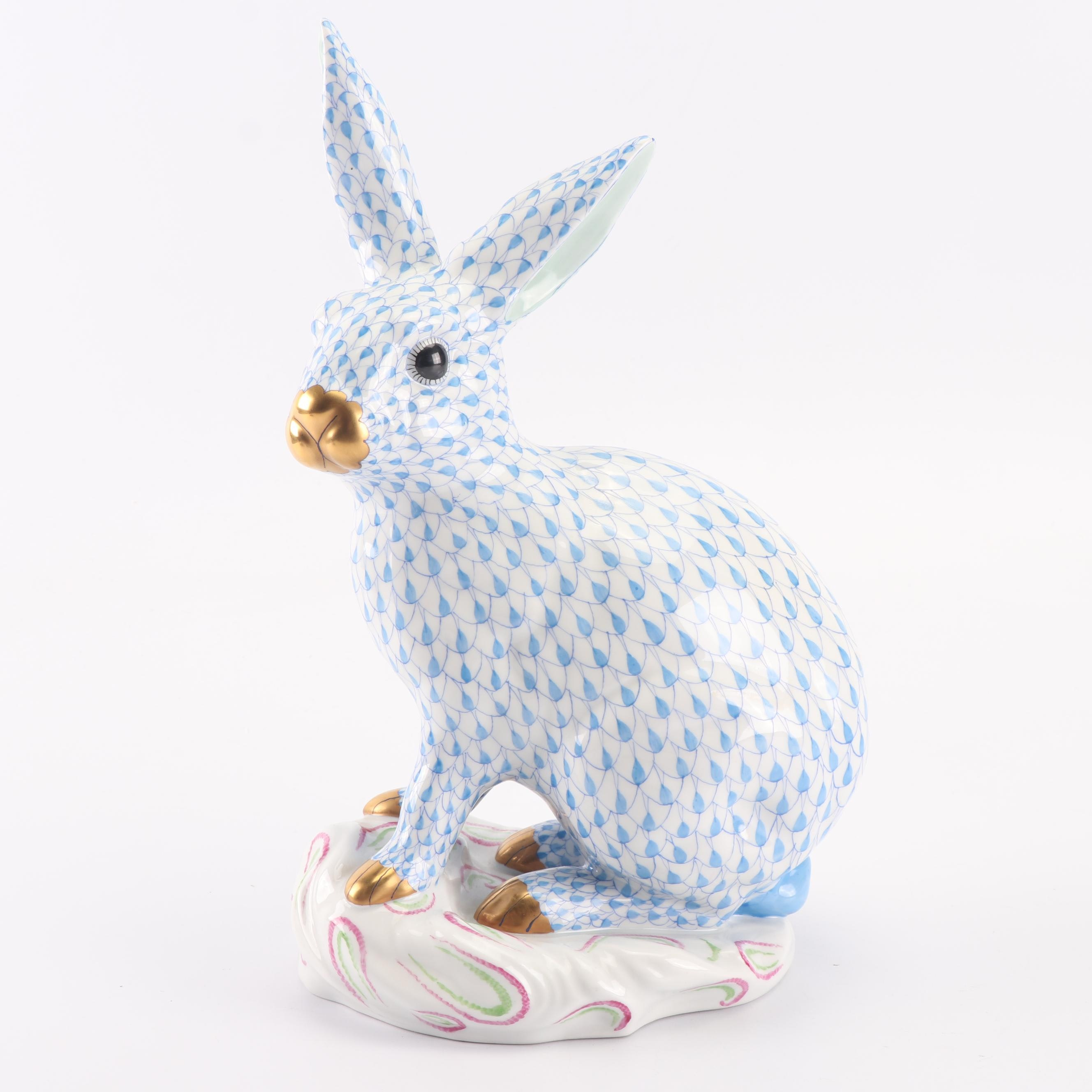 "Herend Blue ""Large Rabbit on Base"" Hand-Painted Porcelain Figurine"