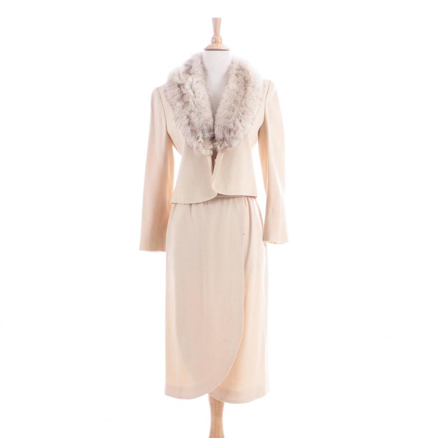 Vintage by Garè Wool Blend Skirt Suit with Fox Fur Trim