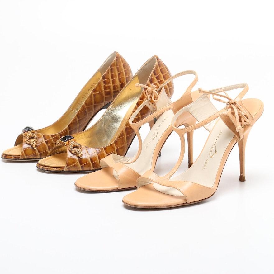 49a53890c65 Giuseppe Zanotti Crocodile Embossed Leather and Alexandra Neel Leather Heels  ...
