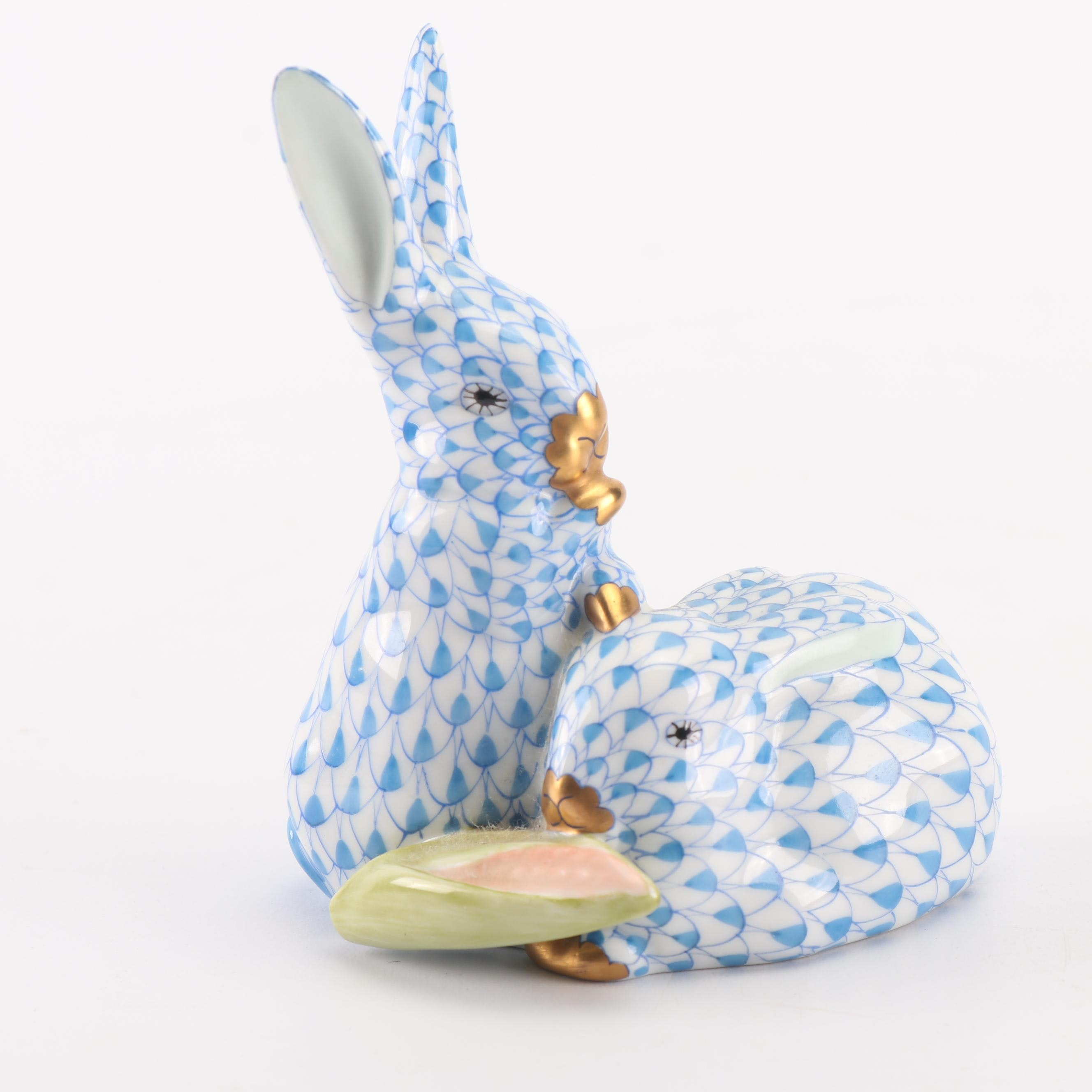 "Herend Blue ""Pair of Rabbits with Corn"" Hand-Painted Porcelain Figurine"