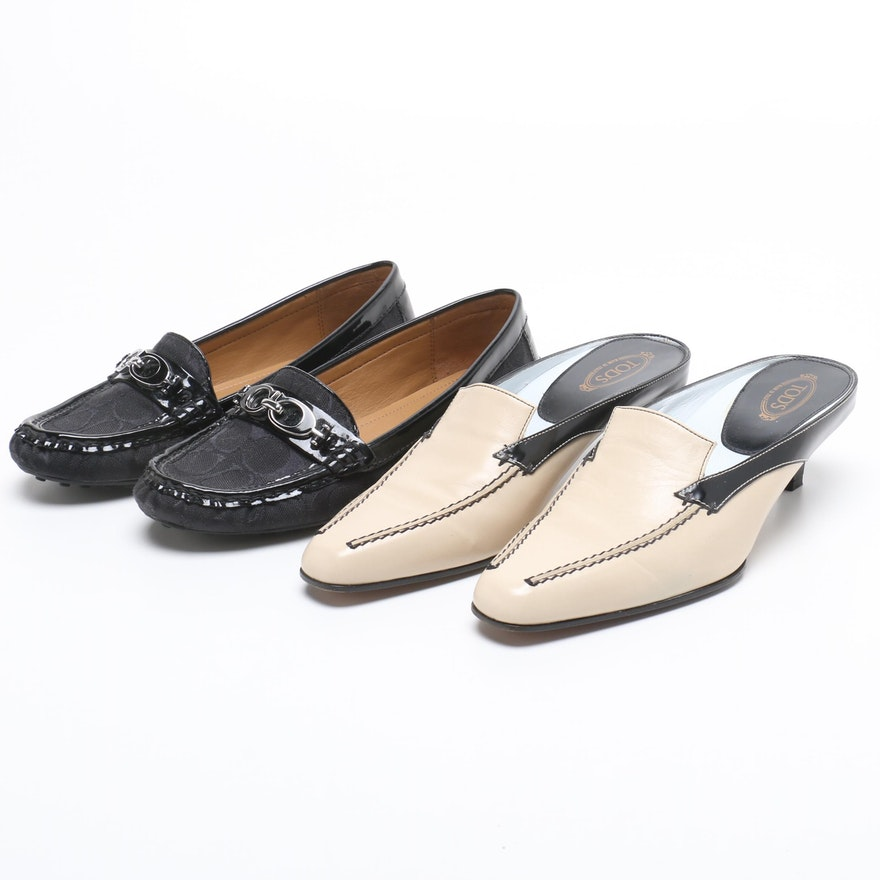 878c092083f Coach Black Canvas Monogram and Patent Leather Loafers and Tod s Leather  Mules   EBTH
