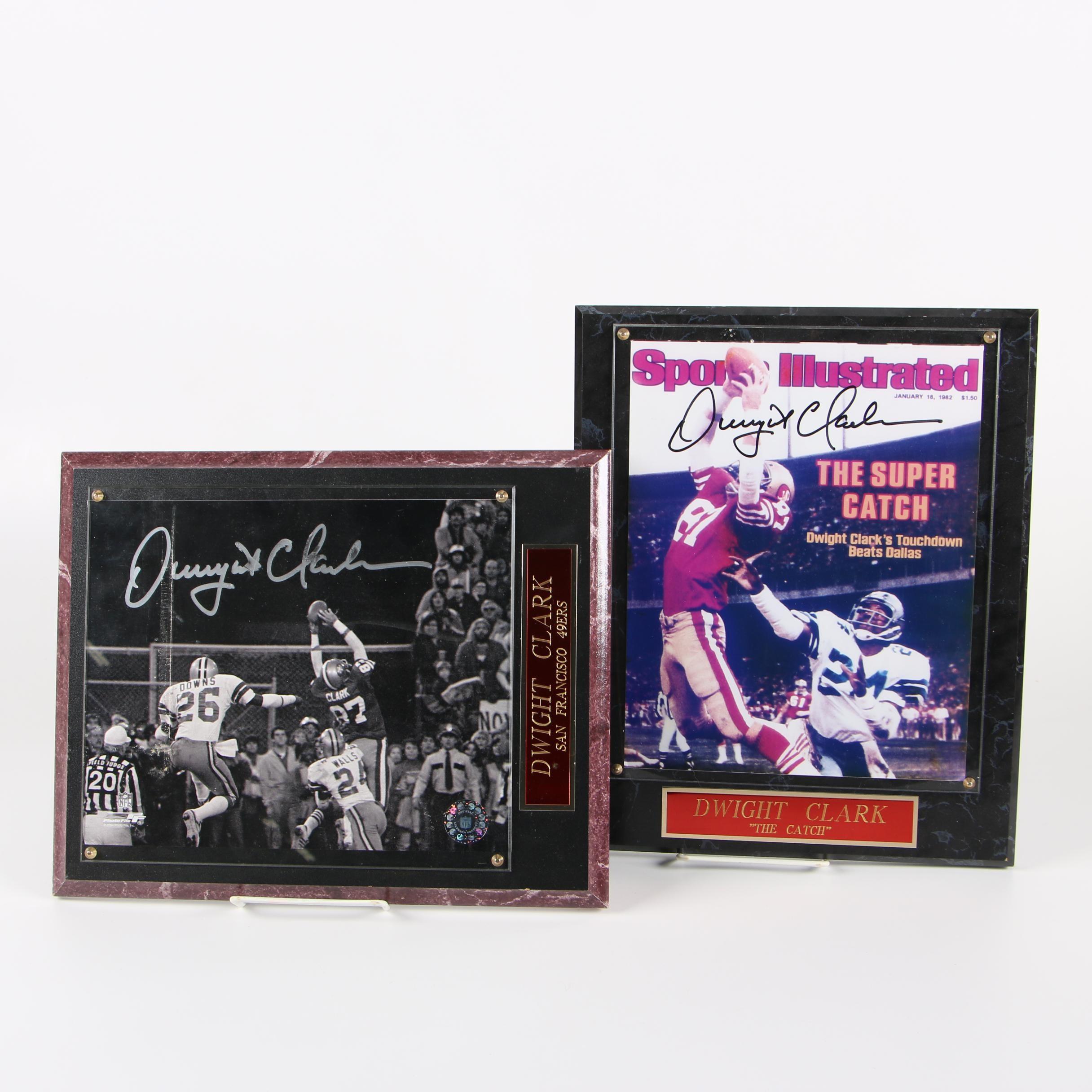 Dwight Clark Autographed San Francisco 49ers Photographic Plaques