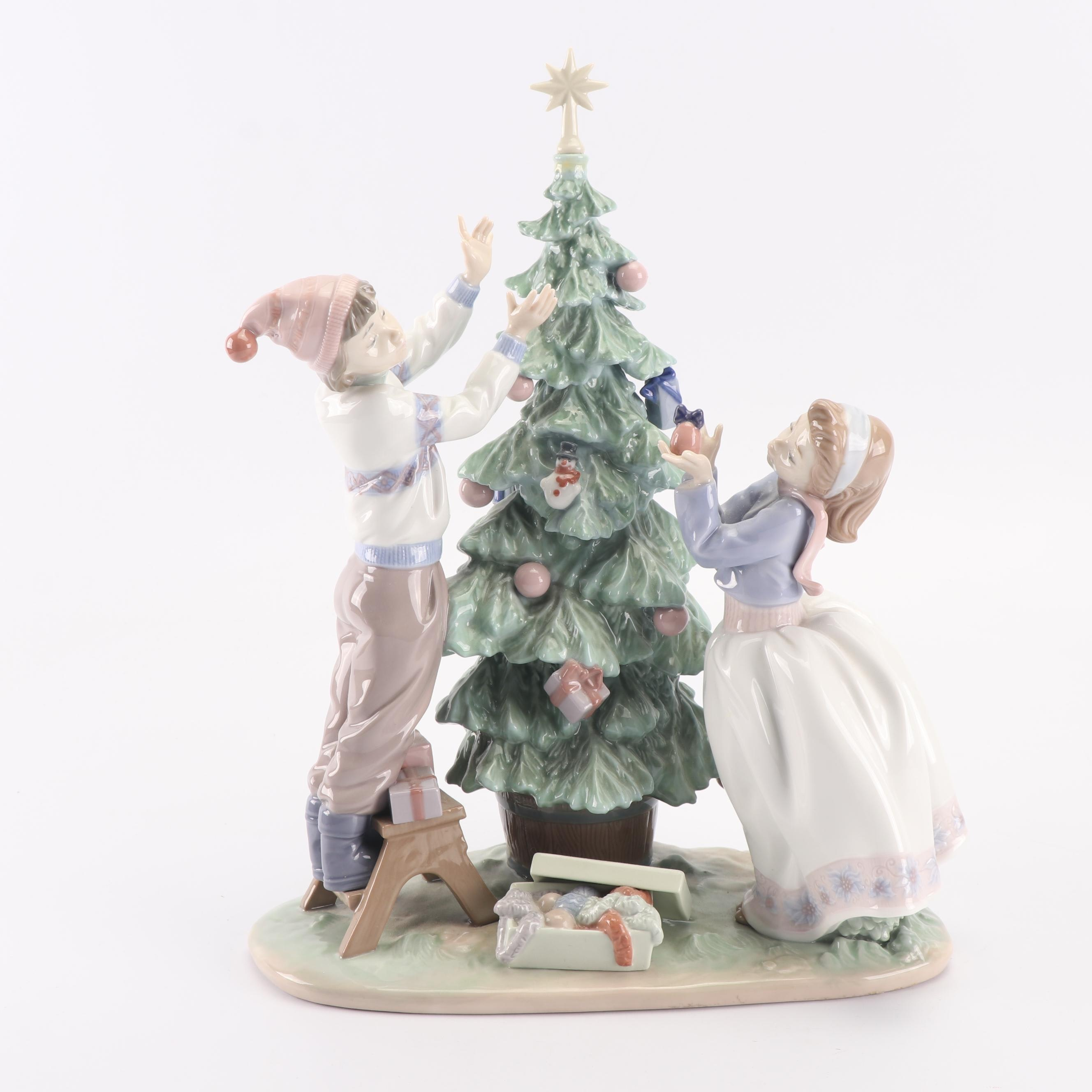 "Lladró ""Trimming the Tree"" Porcelain Figurine"