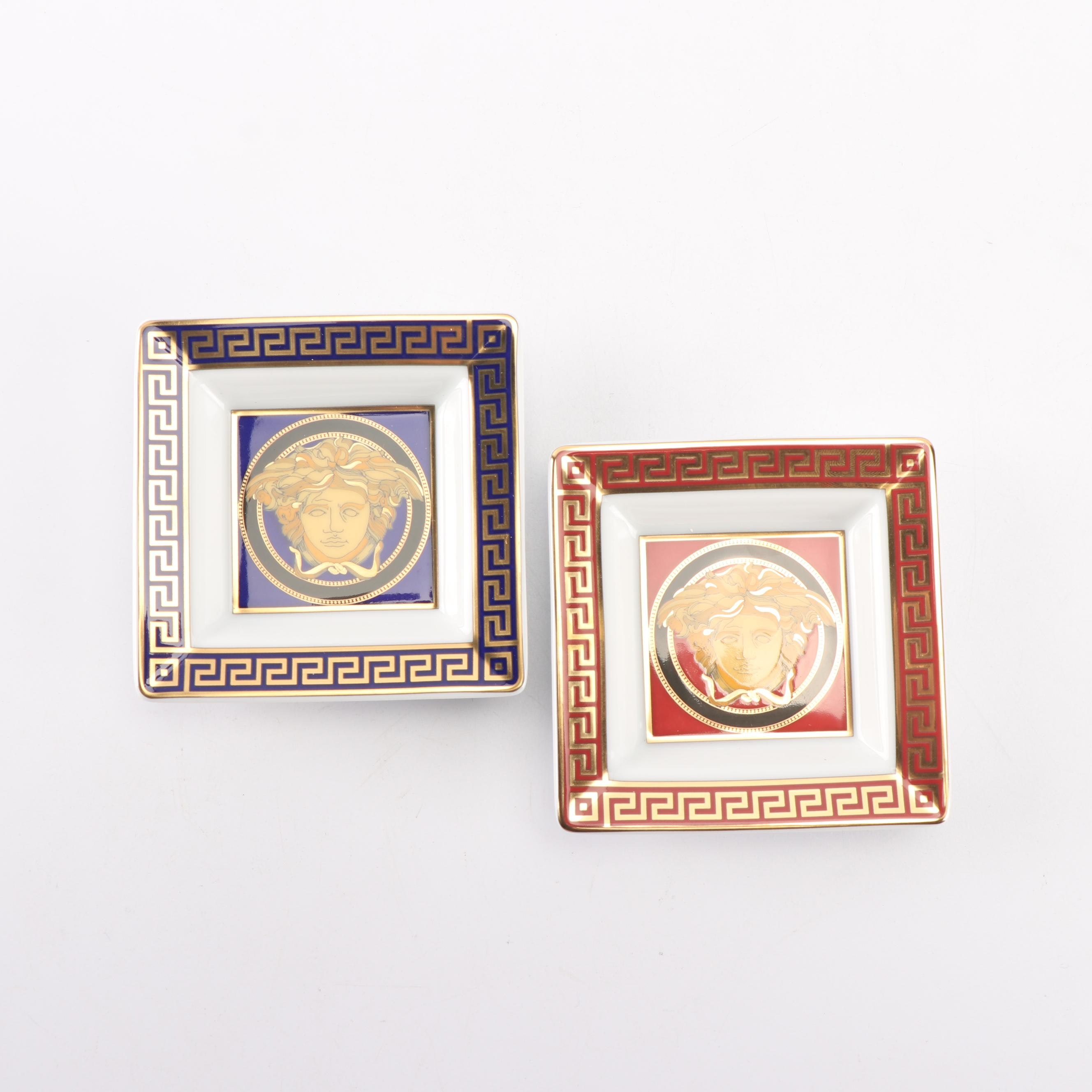 """Versace for Rosenthal """"Medusa"""" Porcelain Square Candy Dishes"""