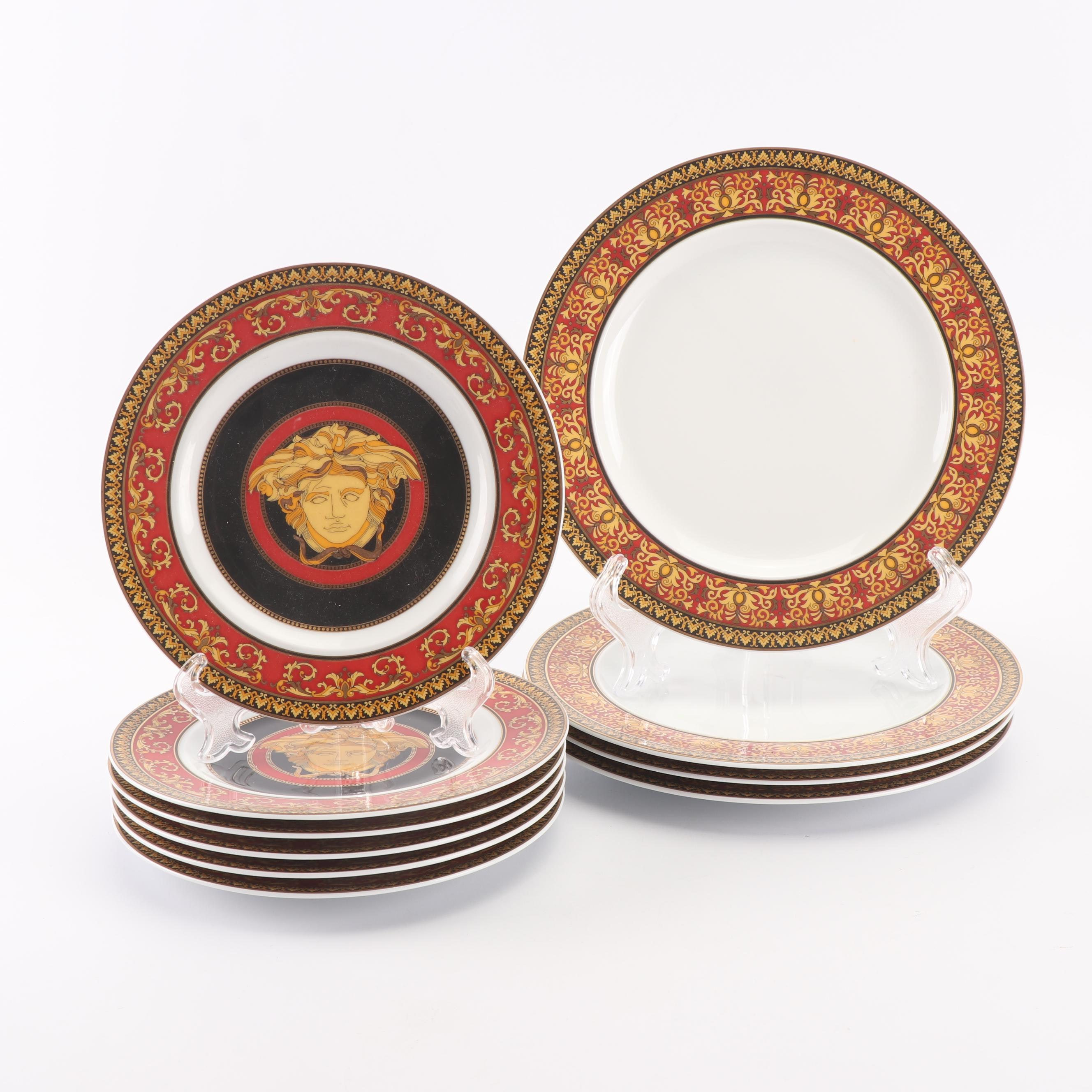 "Versace for Rosenthal ""Medusa Red"" Bread and Butter and Salad Plates"