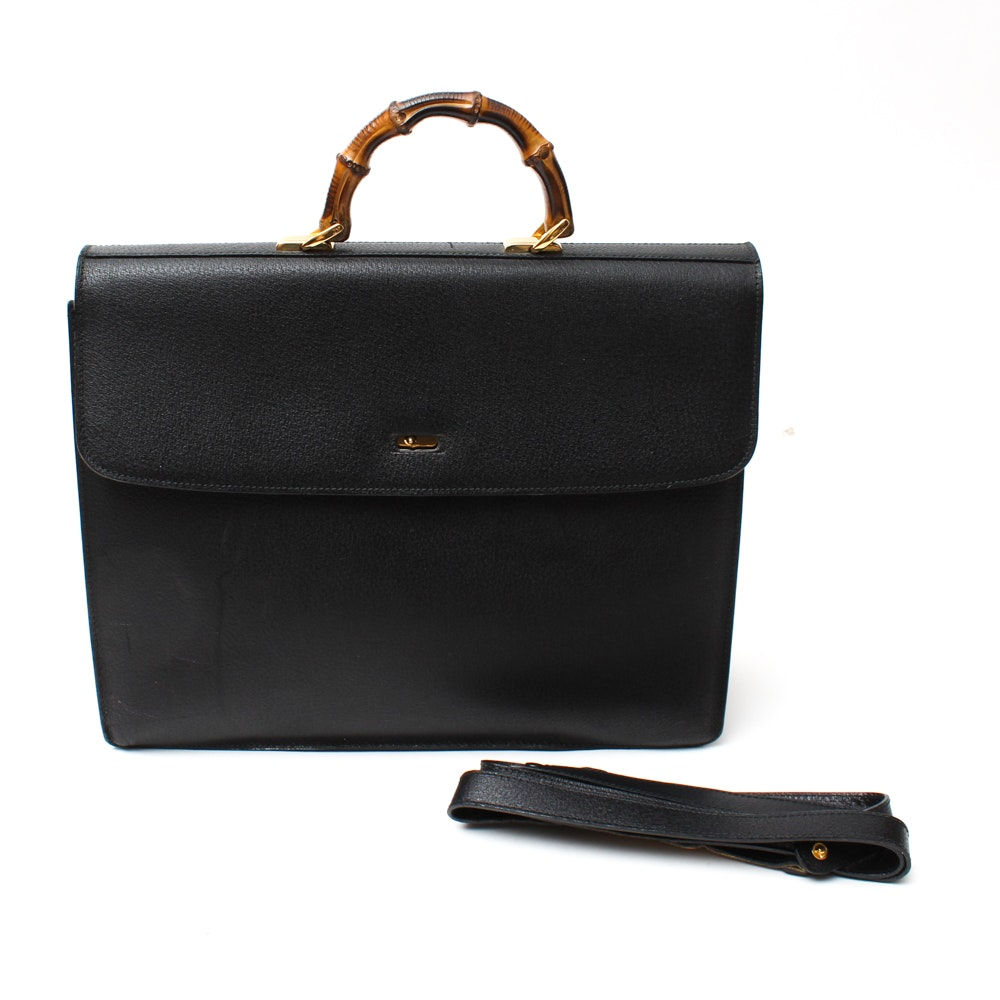 Vintage Gucci Black Leather Bamboo Briefcase