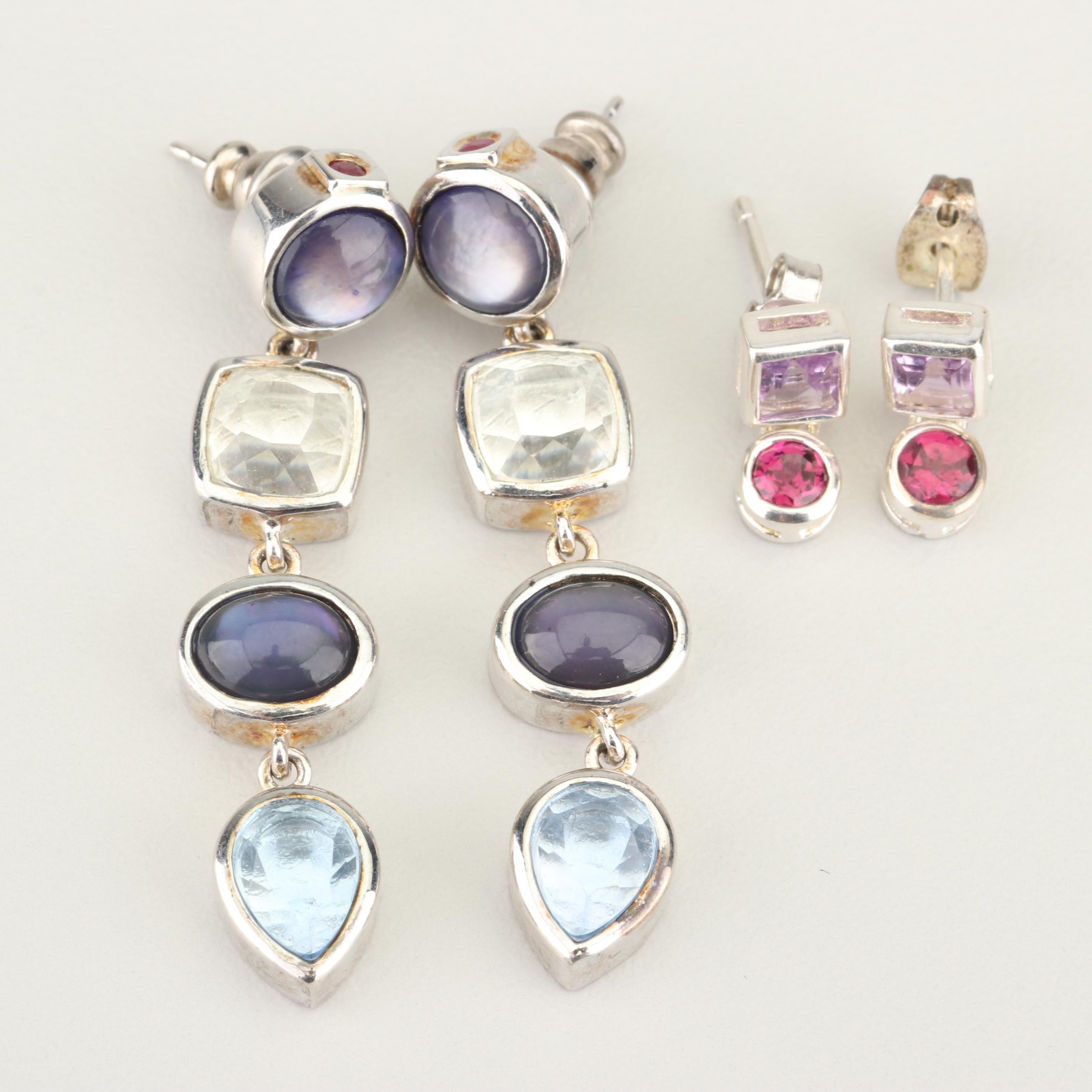 Sterling Silver and Silver Plated Gemstone Dangle Earrings